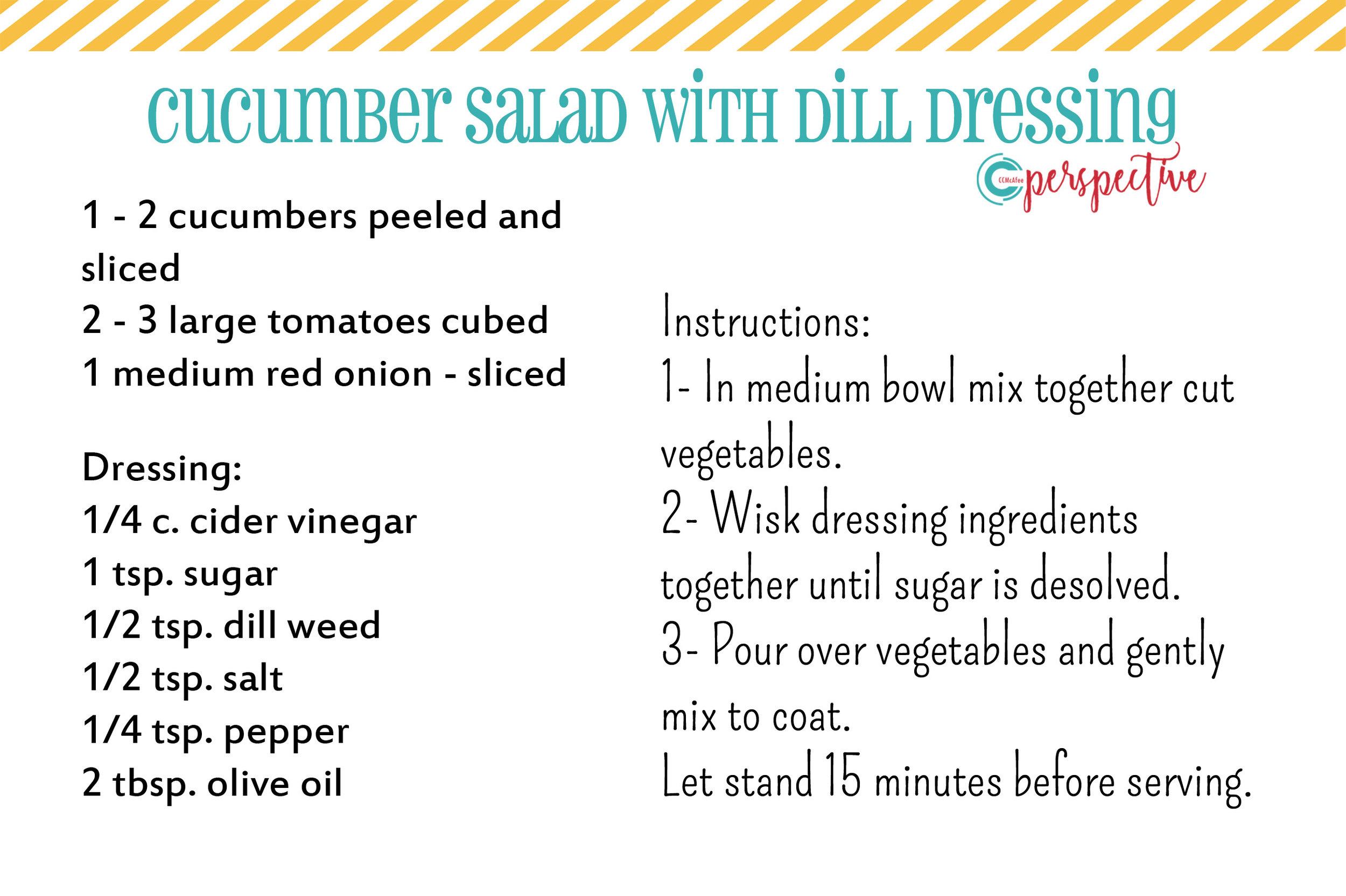 cucumber salad dill dressing summer