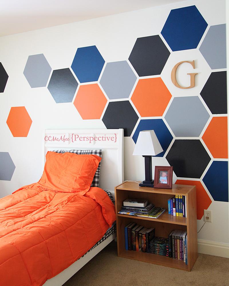 teen boy room design hexagon