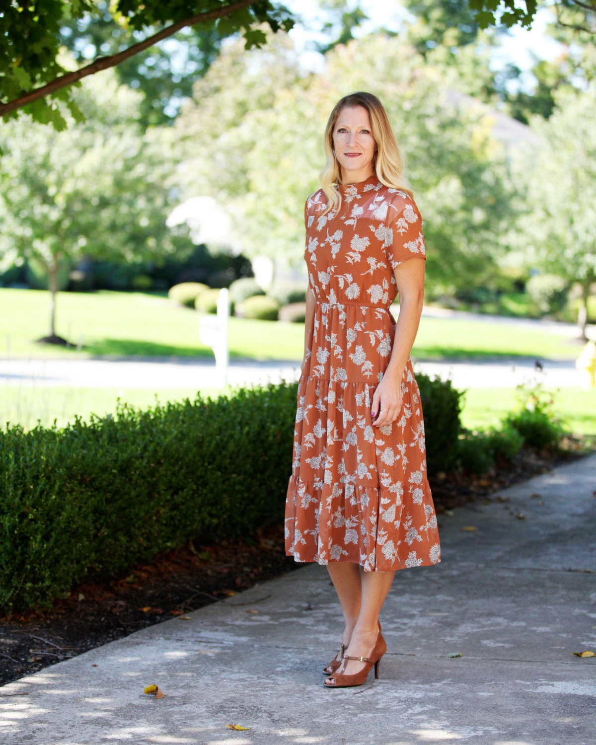 rust floral dress