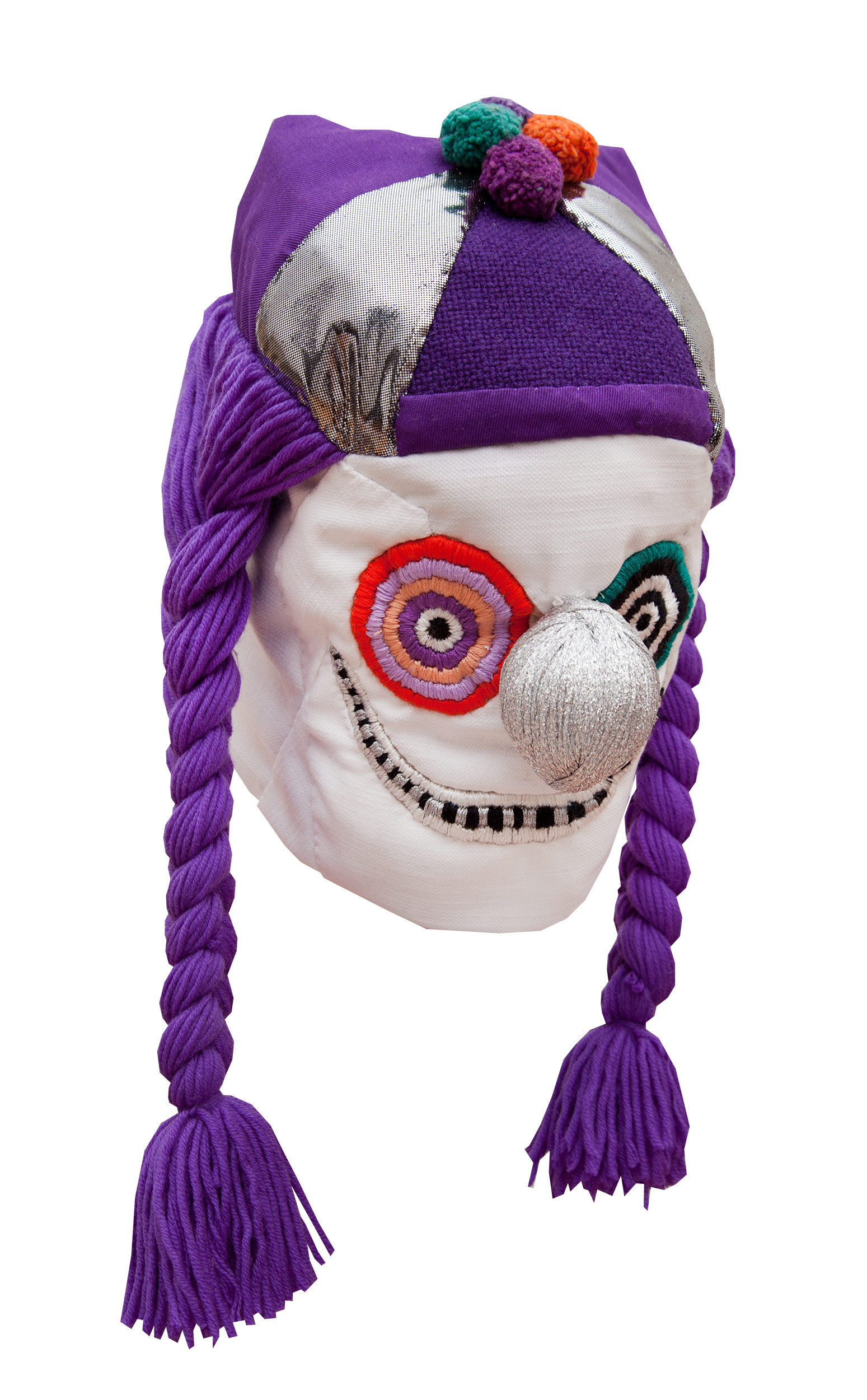"Clown (purple) / 2016 from the serie ""Clowns"" textiles and div. materials 25 x 25 x 65cm"