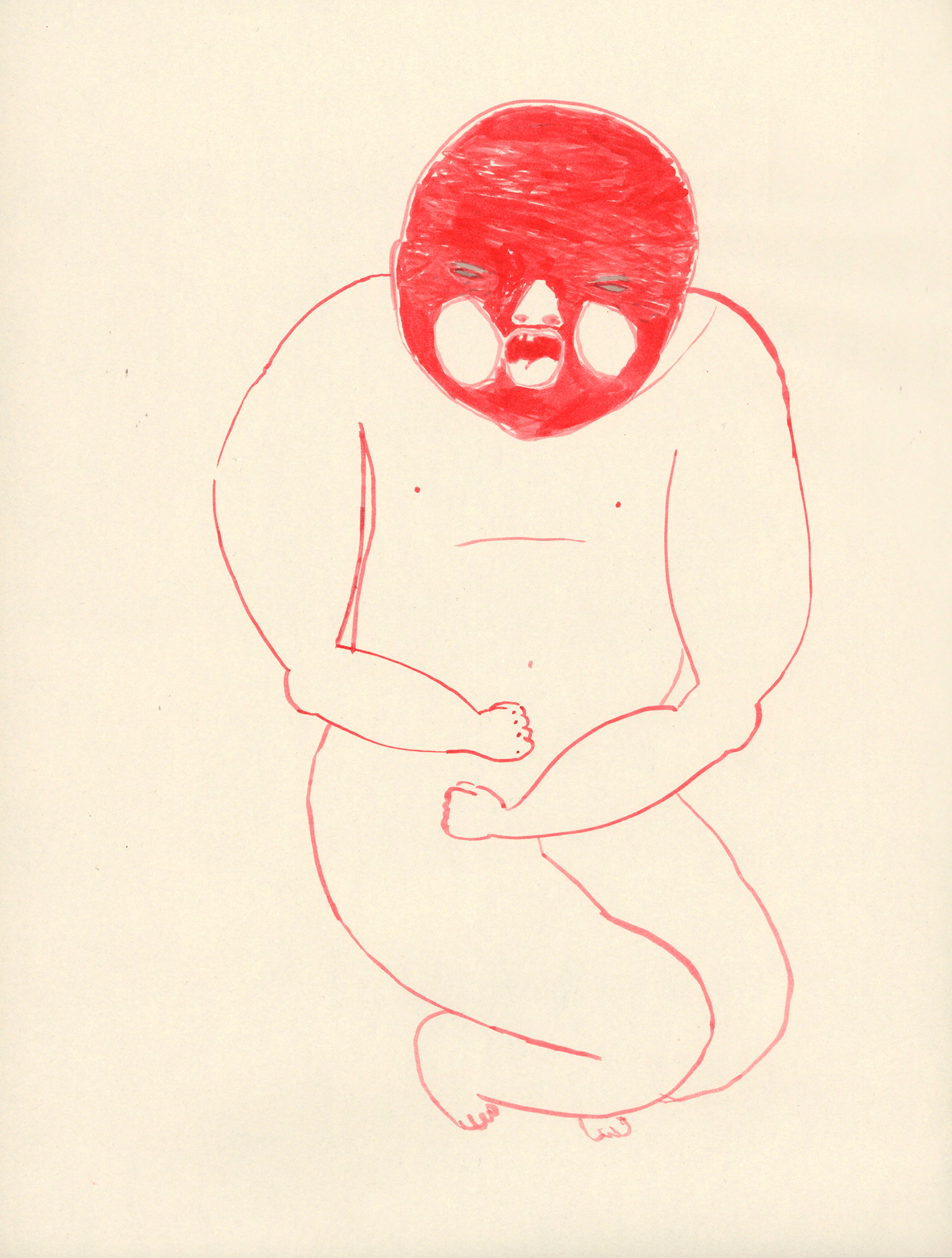 "Untitled / 2010 (from the serie ""Babys"") ink on paper 30 x 40cm"