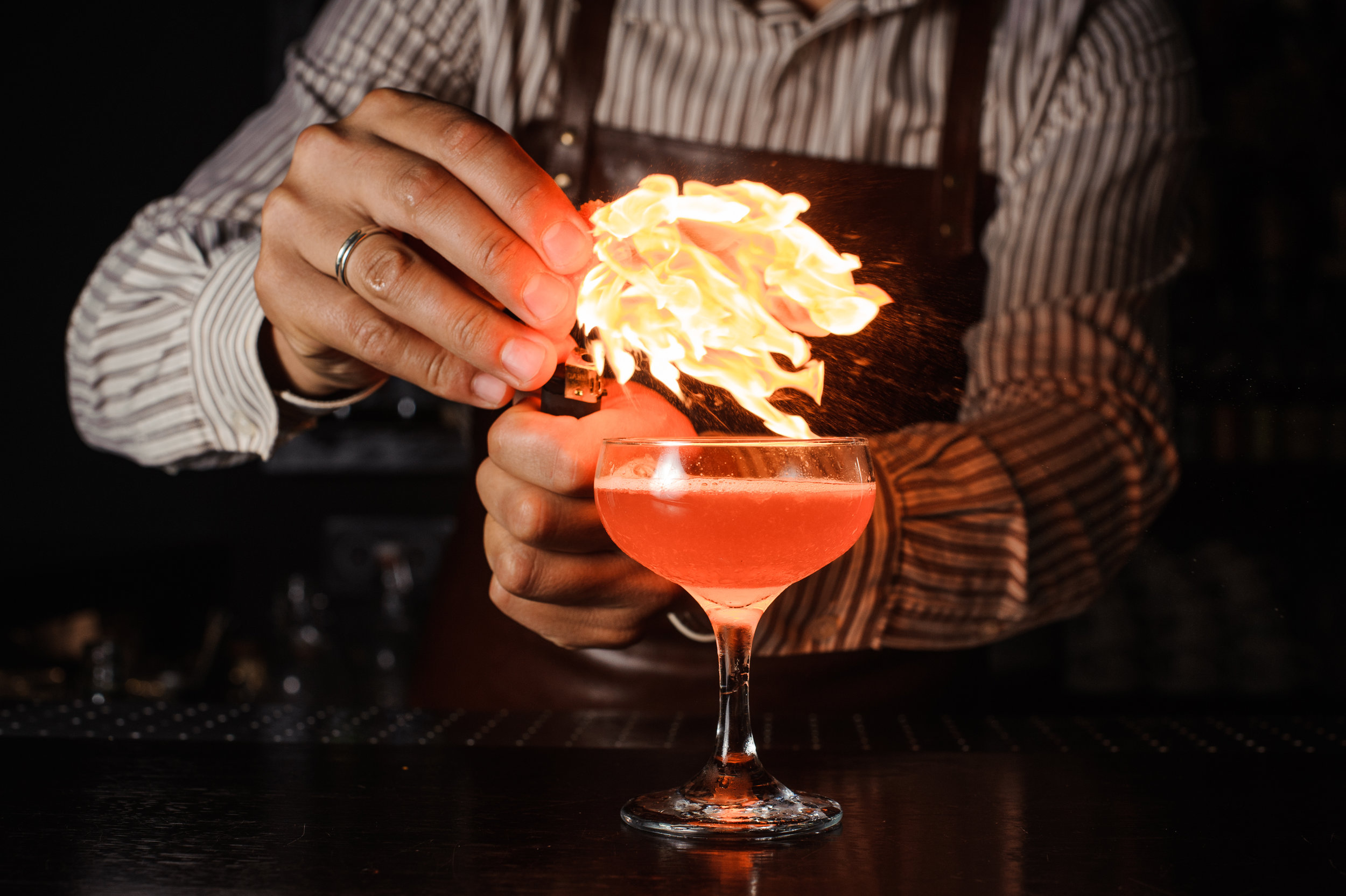 Serving a cocktail