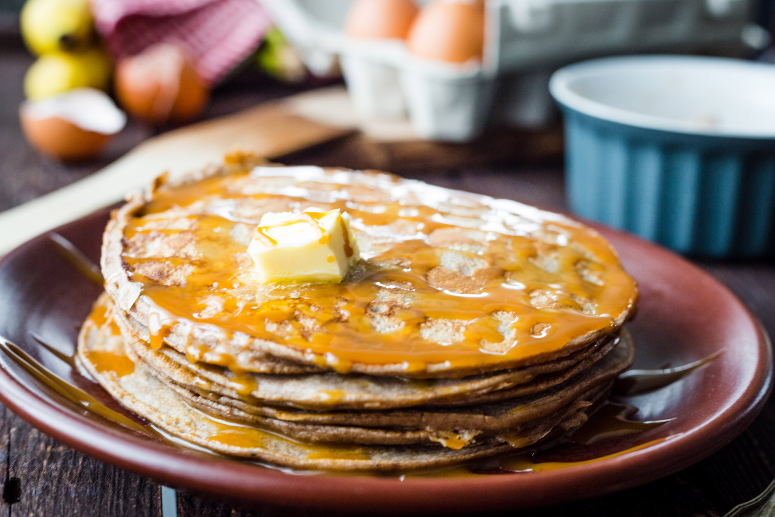 Agave syrup pancakes