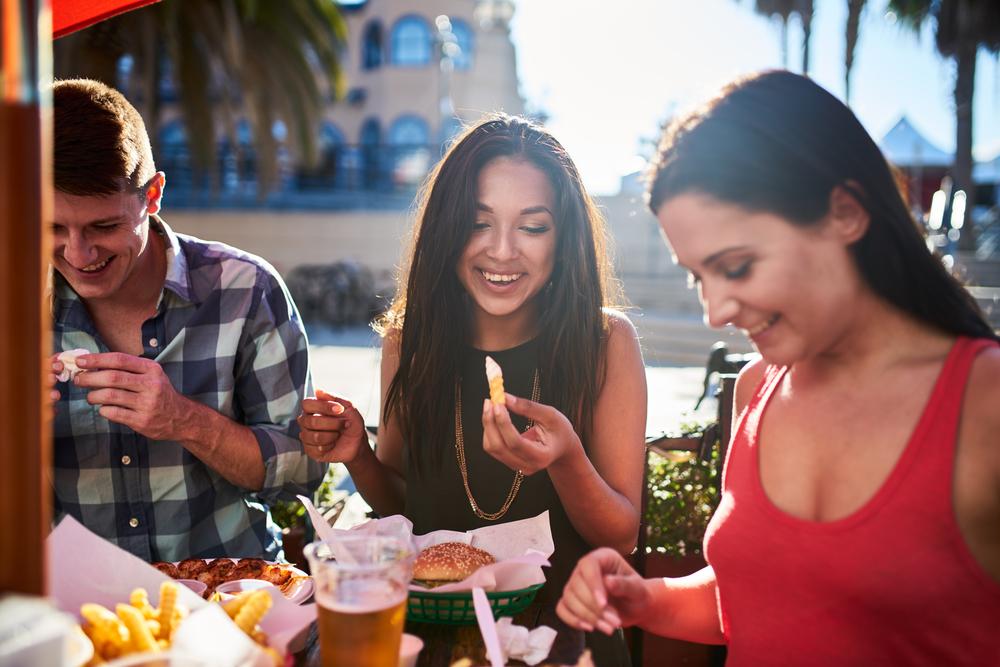 people eating alfresco