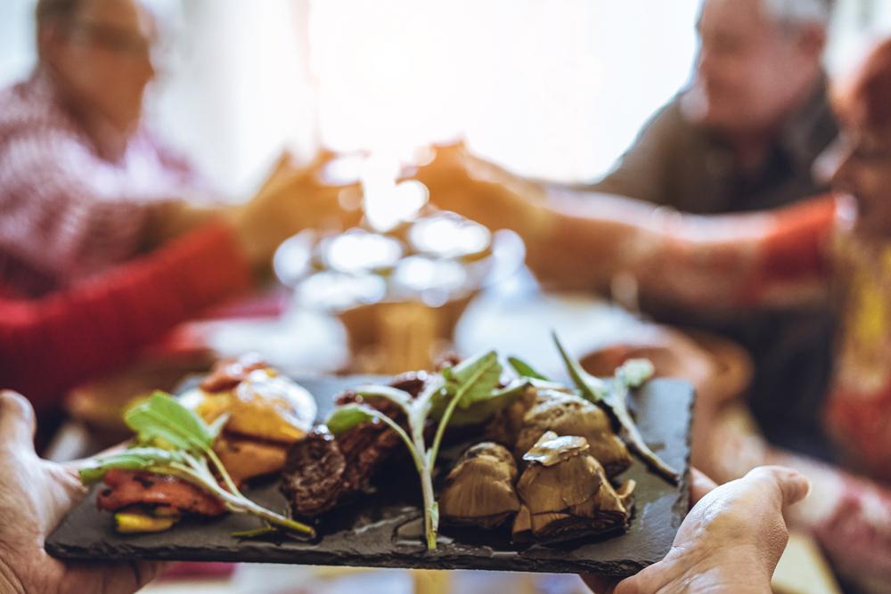 Food being served on slate