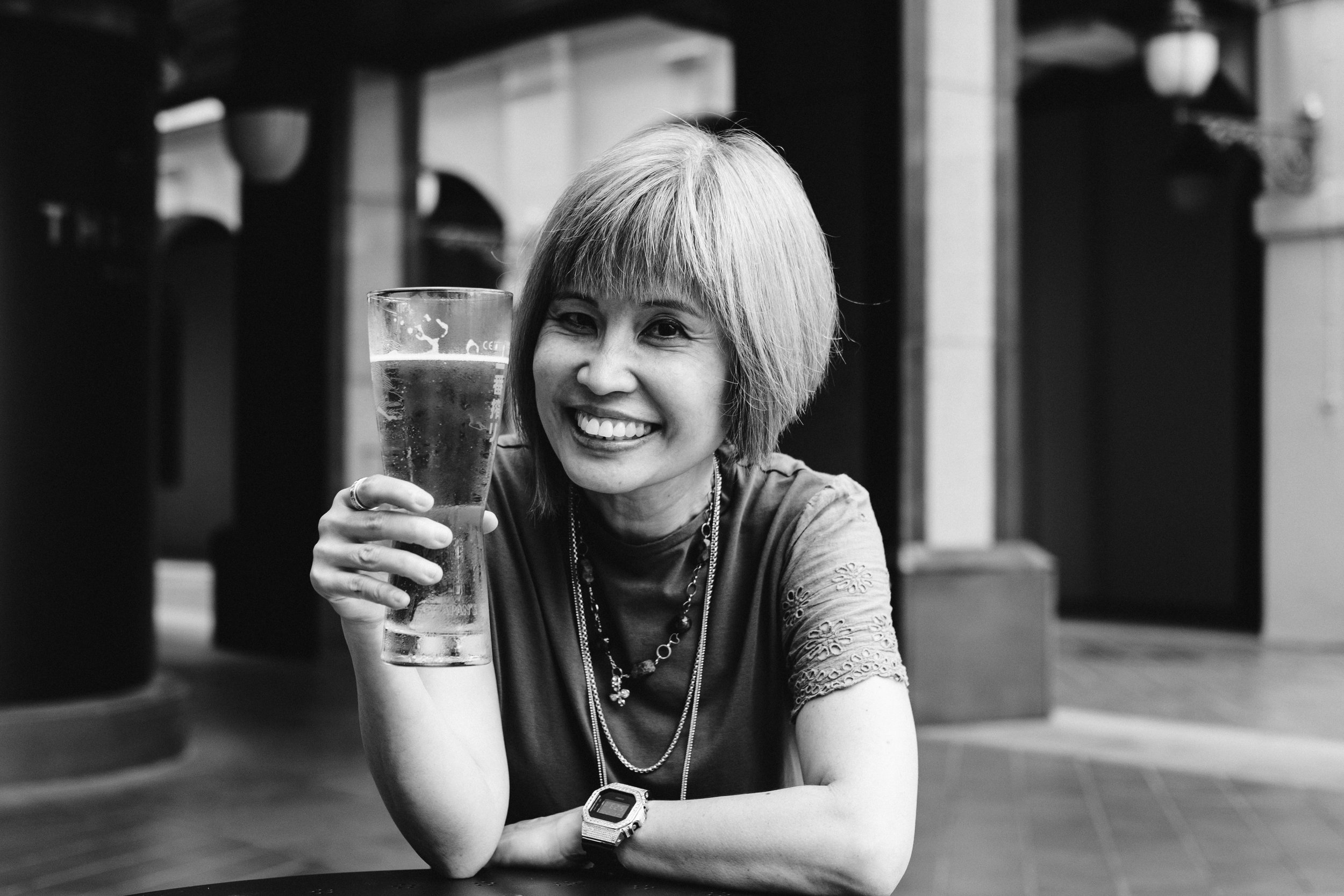Baby boomer drinking pint of beer