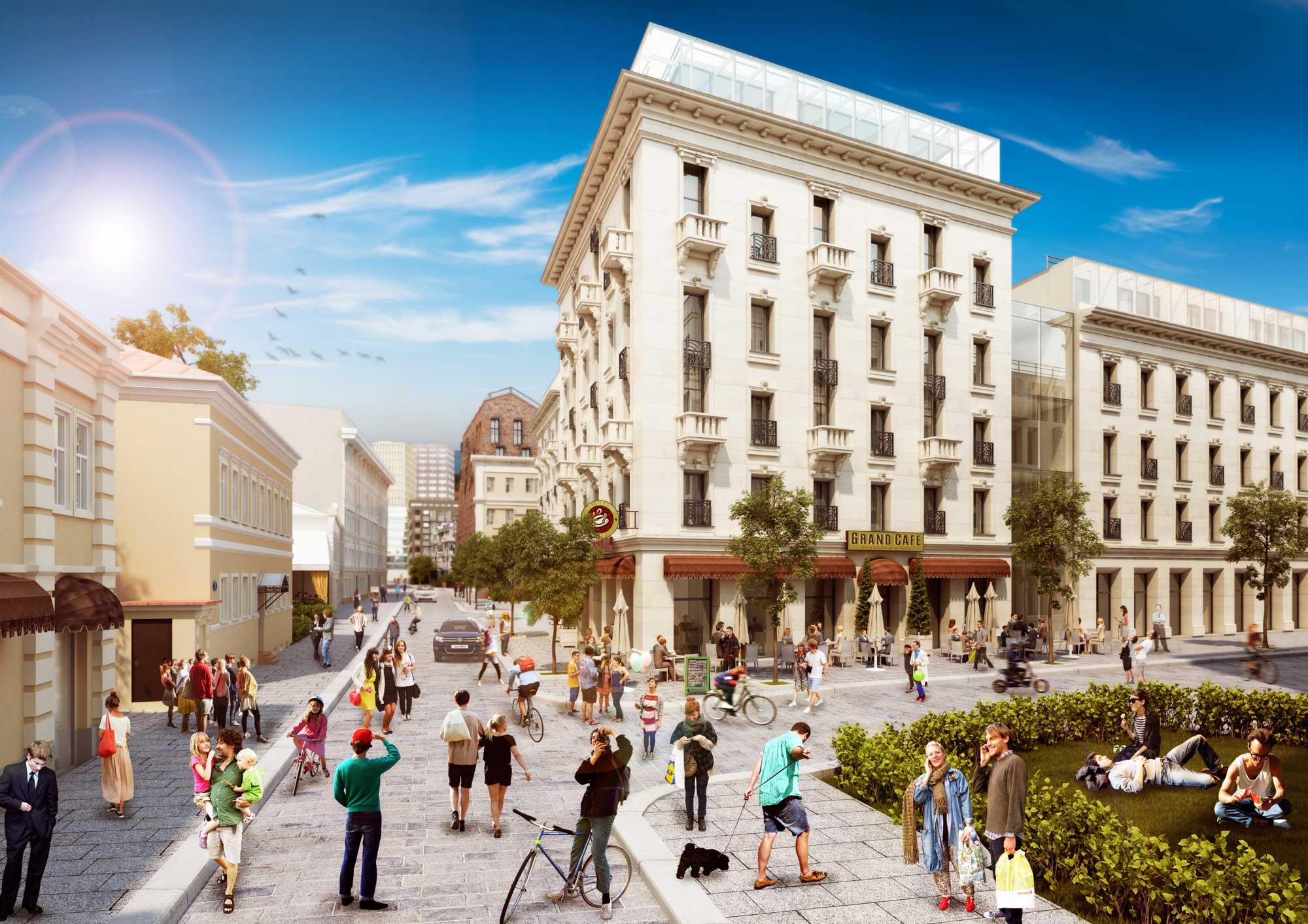 Public space. View on Serebryanicheskiy lane