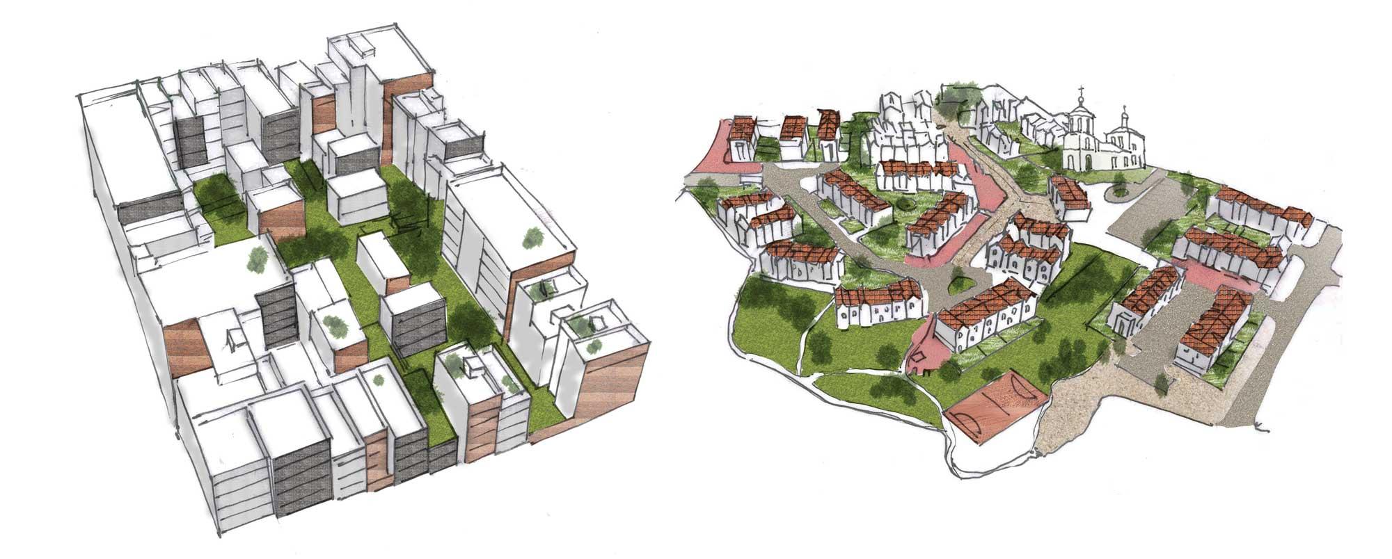 Zones description. Low density/low rise residential quarter | Medium density/medium rise residential quarter