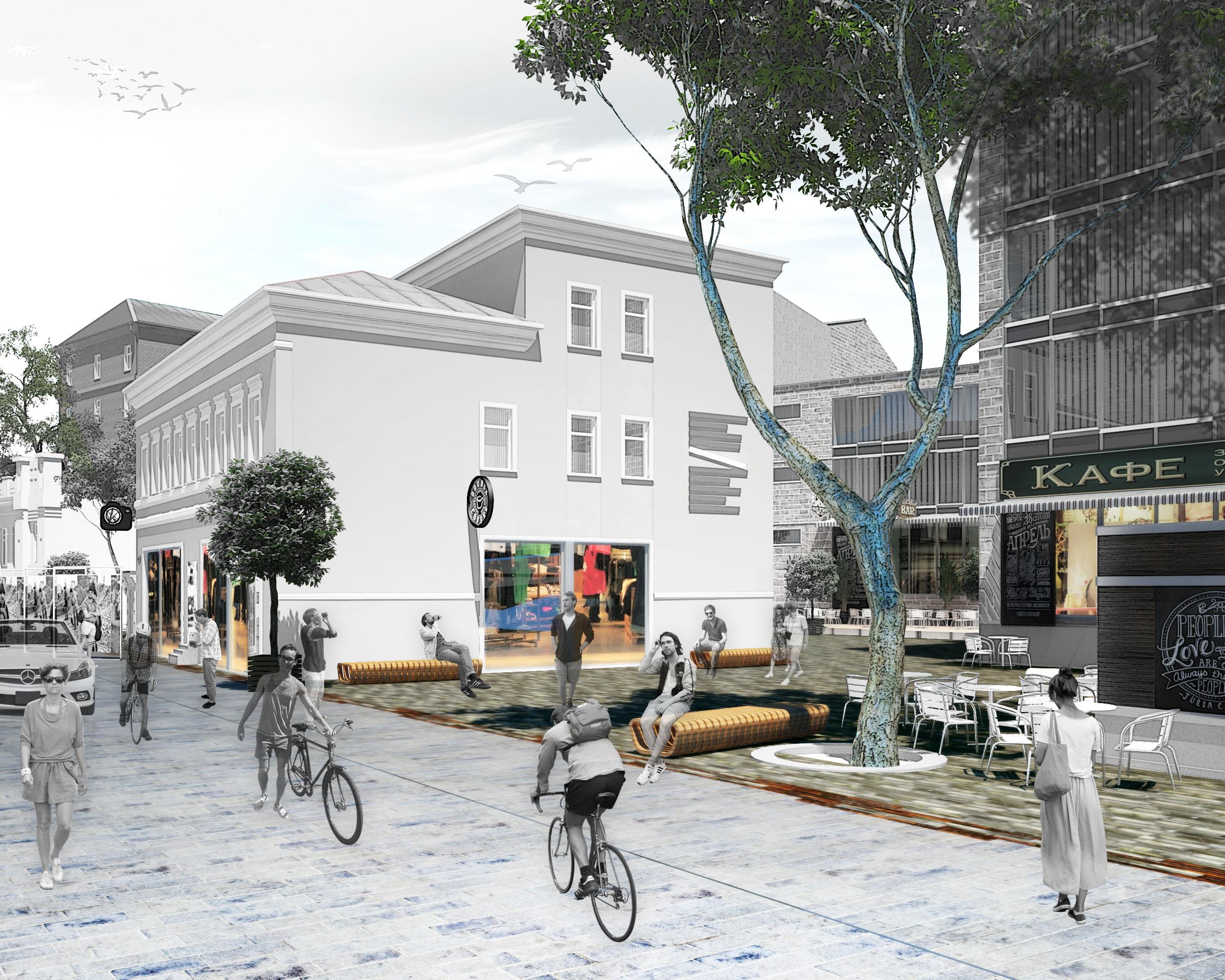 Общественное пространствос открытыми верандами кафе и ресторанов,с зеленой зоной, а так же местом для отдыха жителей и туристов.