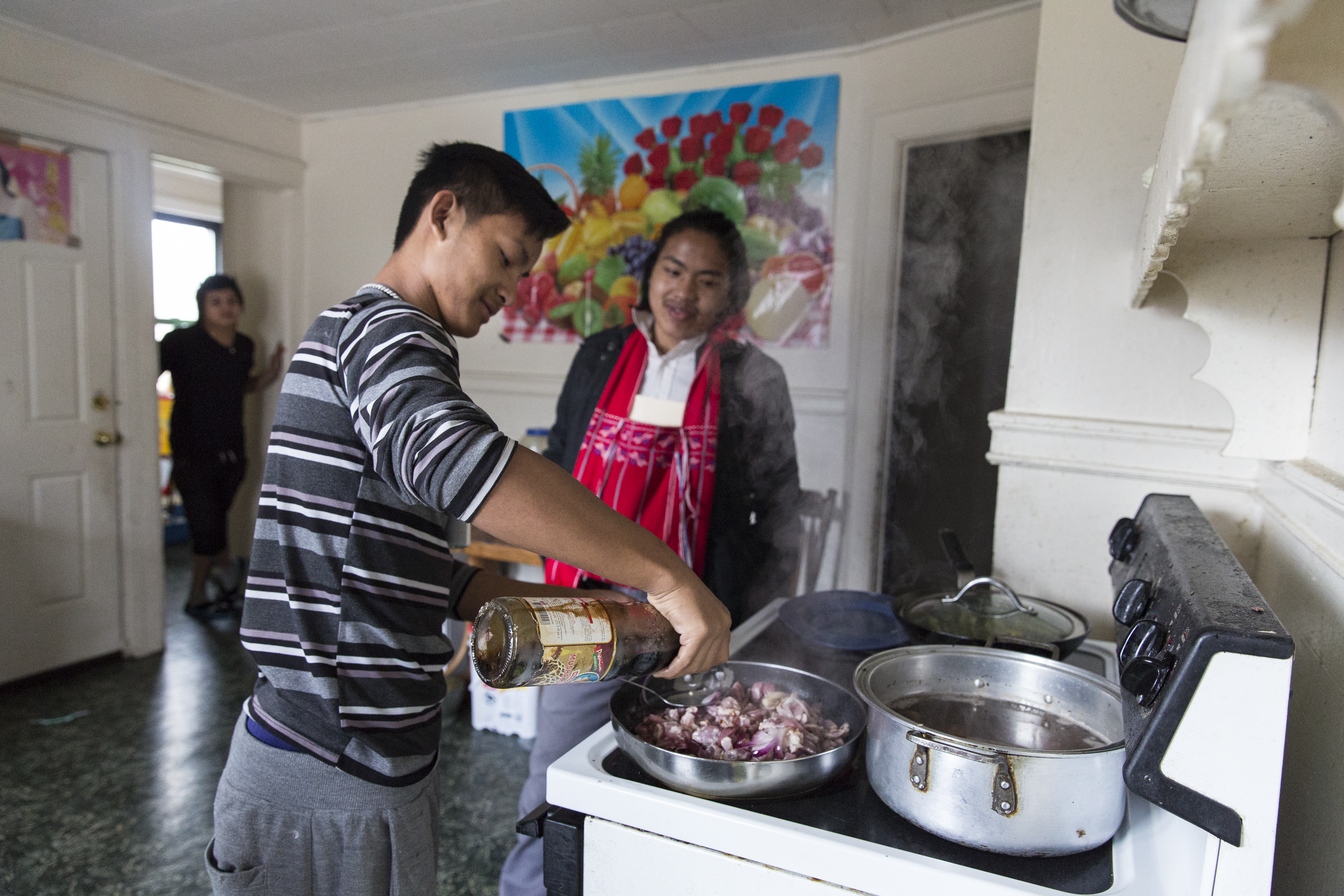 "Ehlerh cooks a traditional Thai dish for his family and friends with the help of his friends. The boys often cook for each other and Ehlerh says ""I'm not good at cooking, but they are."" April 27, 2015."