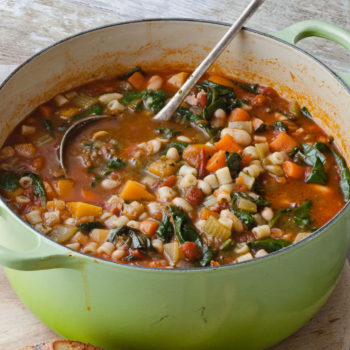 Winter Minestrone - I make a version of this all the time, with (clean) Italian sausage instead of pancetta. It's packed with veggies and bone broth so it's anti-inflammatory and healing. Recipe here.