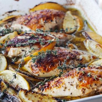 Lemon Chicken Breasts - Adding citrus, garlic and herbs to simple baked chicken not only boosts the flavor, but also the nutrient density (and health benefits!) Recipe here.