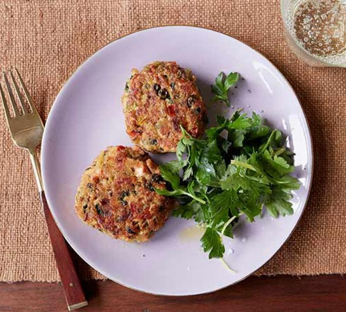 Salmon Cakes - Try to use wild salmon if you can, it's more nutrient dense, leaner and contains less toxins. These are packed with veggies, and would be great on a salad or as a burger. They contain bread crumbs as a binder, but you could likely use flax meal or a grain alternative flour if needed. Recipe here.