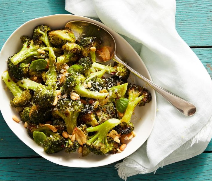 Parmesan Roasted Broccoli - If you need more excitement with your green vegetables, this is a good option. It's made with lemon, garlic and parm cheese and roasted to get a little crisp. The nuts can be omitted for cost and calories. Recipe here.