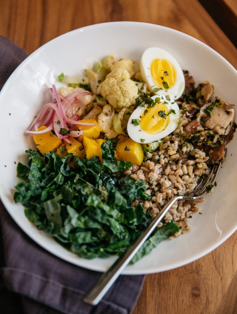 Farro Bowl with Veggies - I love farro; we make it a few times a week. I also love this real food, clean grain bowl shared by Camille Styles (made with Gail Simmons, who I love from Top Chef) because it's simple and nutritious. You can easily customize the protein and veggies to fit your preferences and what's in season. You could add roasted beets or sautéed or roasted mushrooms, zucchini and peppers too.