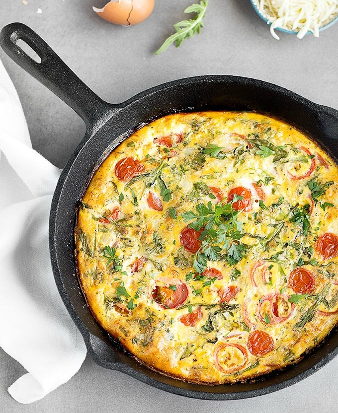 Frittata with Cherry Tomatoes & Arugula - One of my favorite egg pairings is with tomatoes and arugula. The only change I'd make is using fresh mozzarella (I'd drain it on a paper towel to decrease some moisture). You can easily customize the cheese for feta, cheddar, or Swiss too. This is a great low carb dinner option to serve with a side salad.