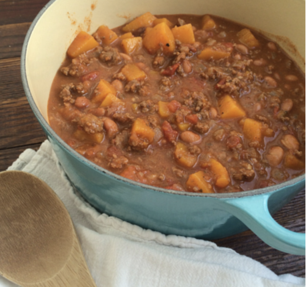 Beef & Butternut Squash Chili - This flavor combination is surprisingly delicious and one of my favorite chilis. I add black beans and use bone broth (Pacific organic bone broth). I tend to be a lazier cook and butternut squash can be difficult to peel and chop, so I simply halve it and roast it in the oven until it's tender. Then I scoop it into whatever I'm making.