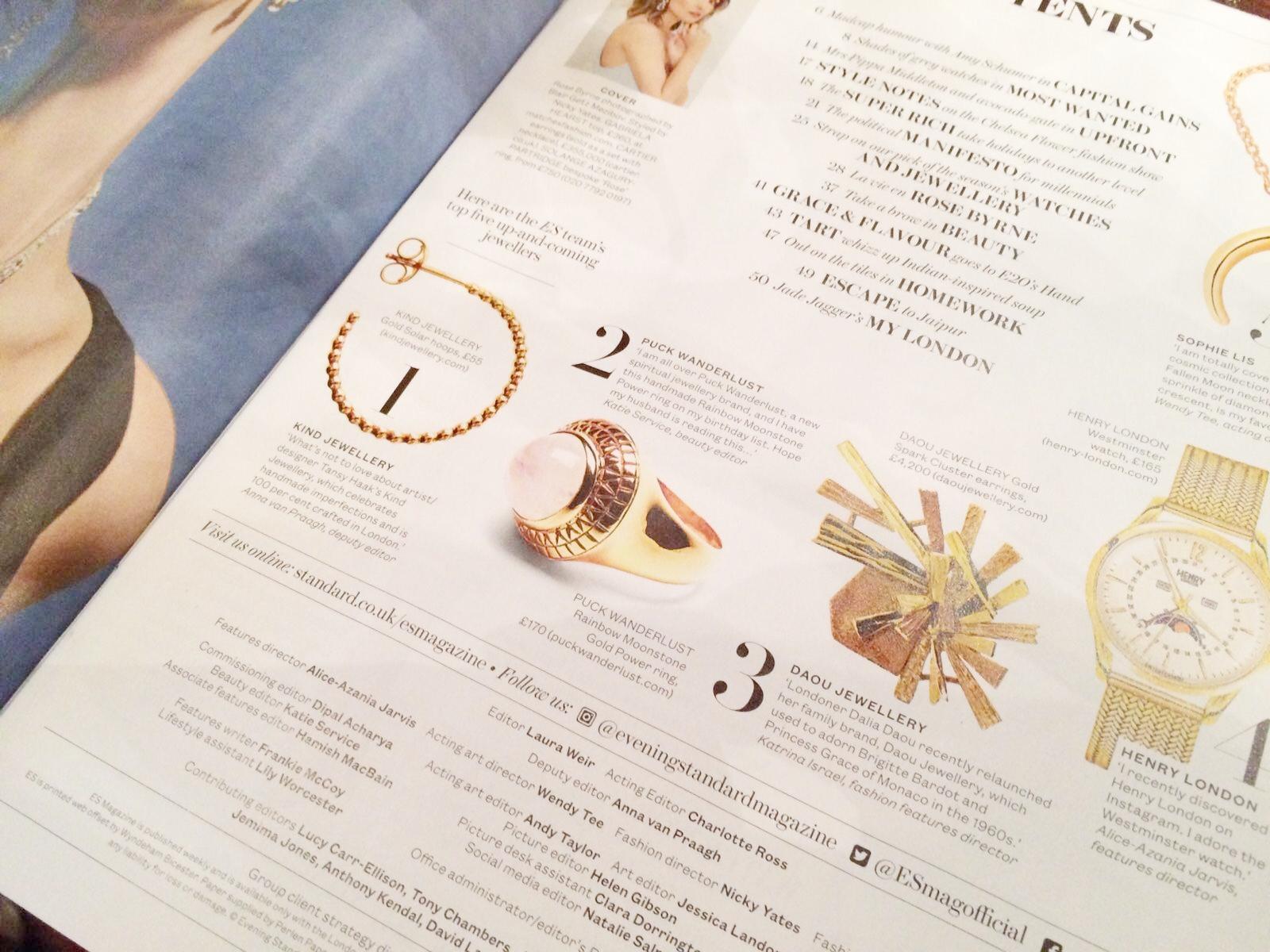 KIND Jewellery Evening Standard Magazine