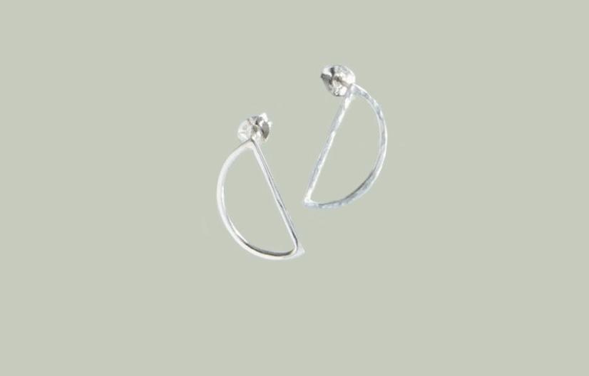 Know the origin Silver Demi Lune Stud Earrings