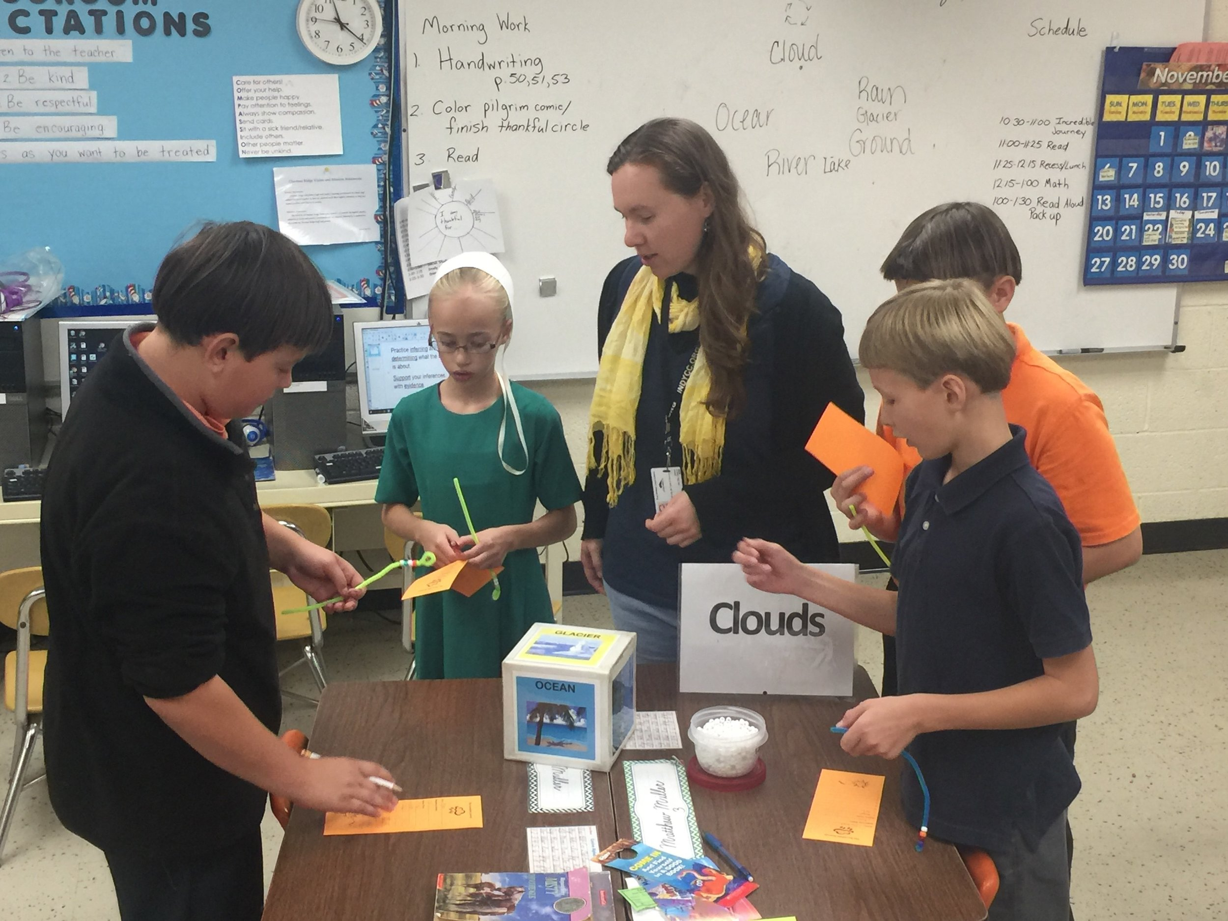 Chestnut Ridge Elementary students learn about the incredible journey of a water droplet as they roll the ride to determine their fate in the water cycle.