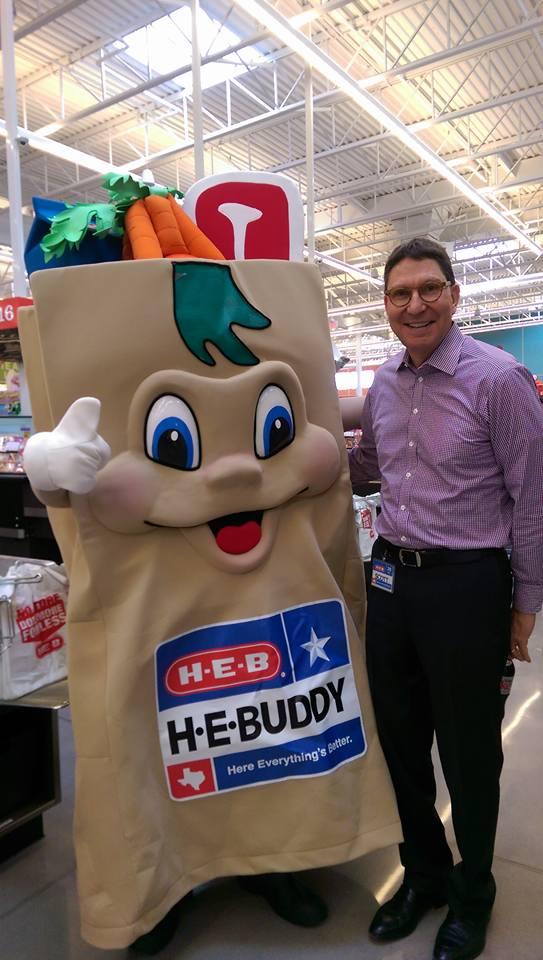 Scott McClelland stands with H-E-Buddy.
