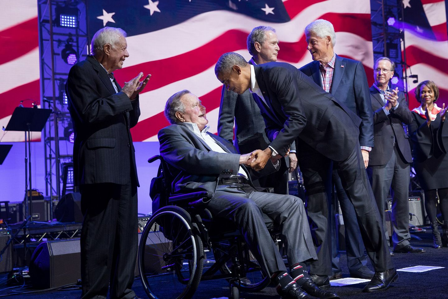 Photo of 5 presidents from One America Appeal Concert.jpg