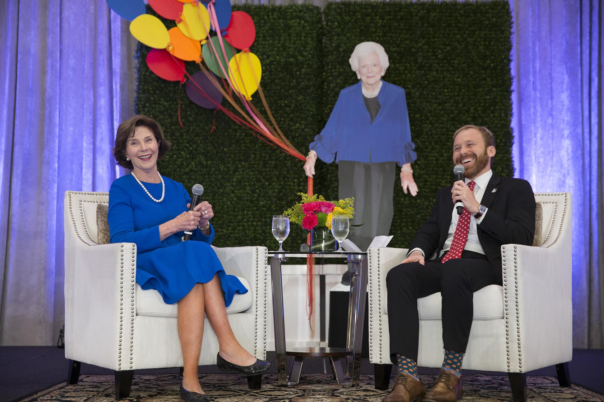 Laura Bush and Pierce Bush; Photo by Jenny Antill.jpg