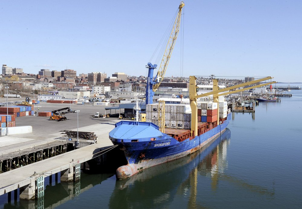 An Eimskip container ship, the Skogafoss, is docked at the Portland International Marine Terminal in 2013. A jump in Maine's exports to six of the Arctic Council's other member nations is directly attributable to Eimskip's arrival in Maine. File photo/John Patriquin
