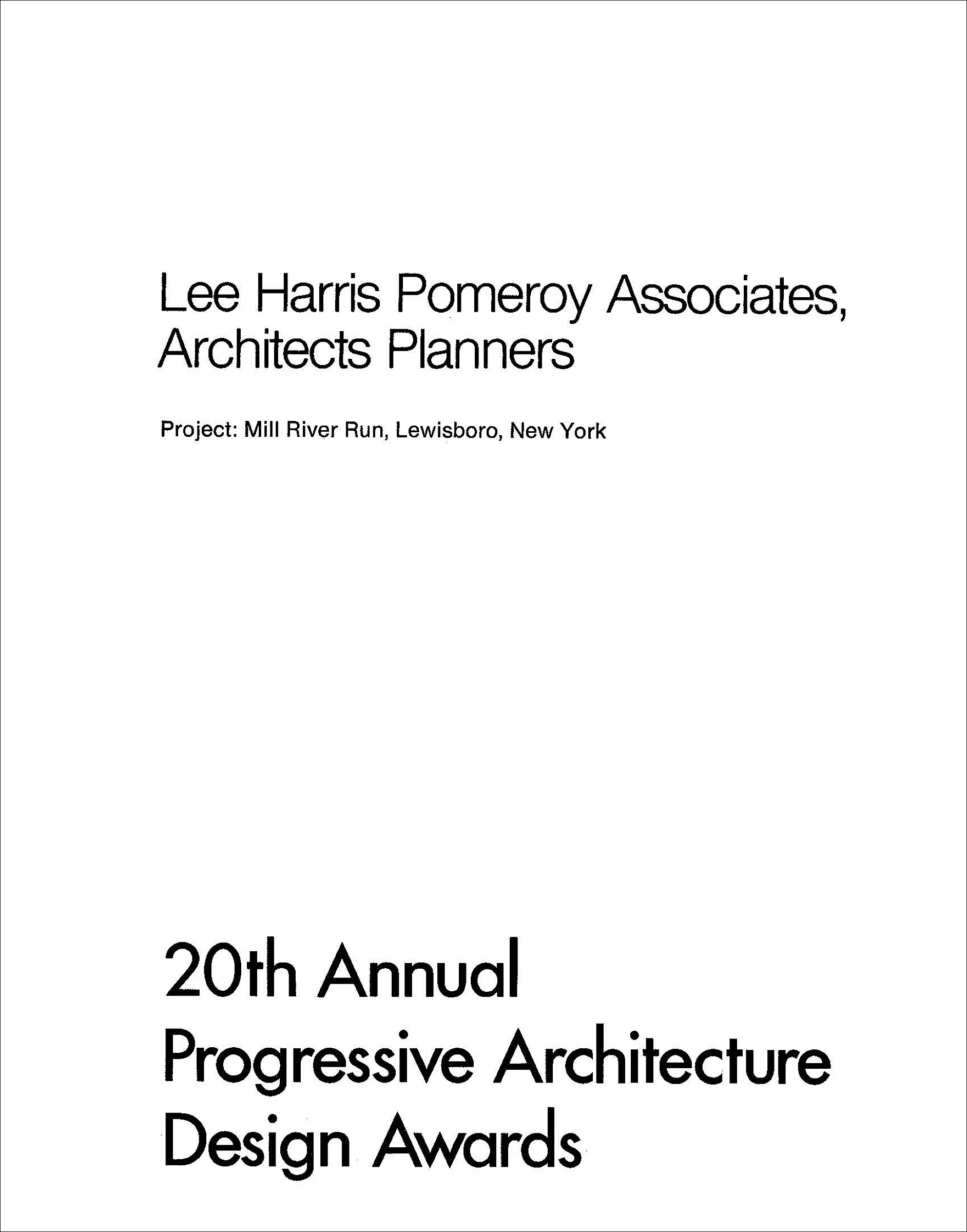 20th Annual Progressive Architecture Design Awards: Mill River Run