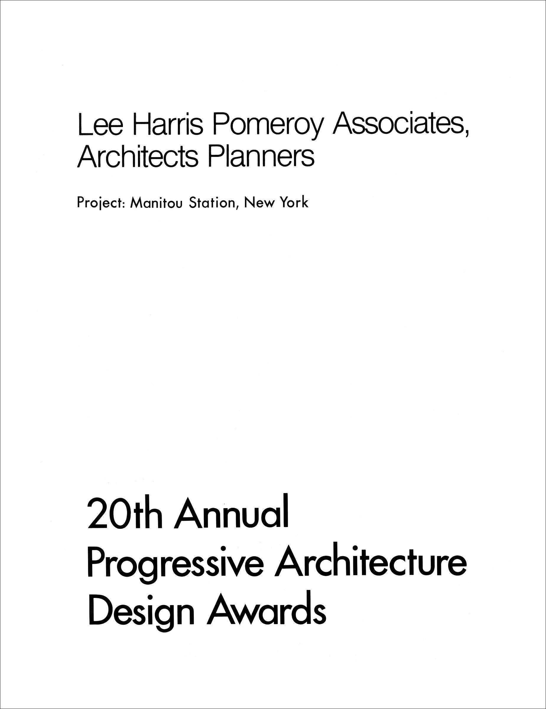 20th Annual Progressive Architecture Design Awards: Manitou Station