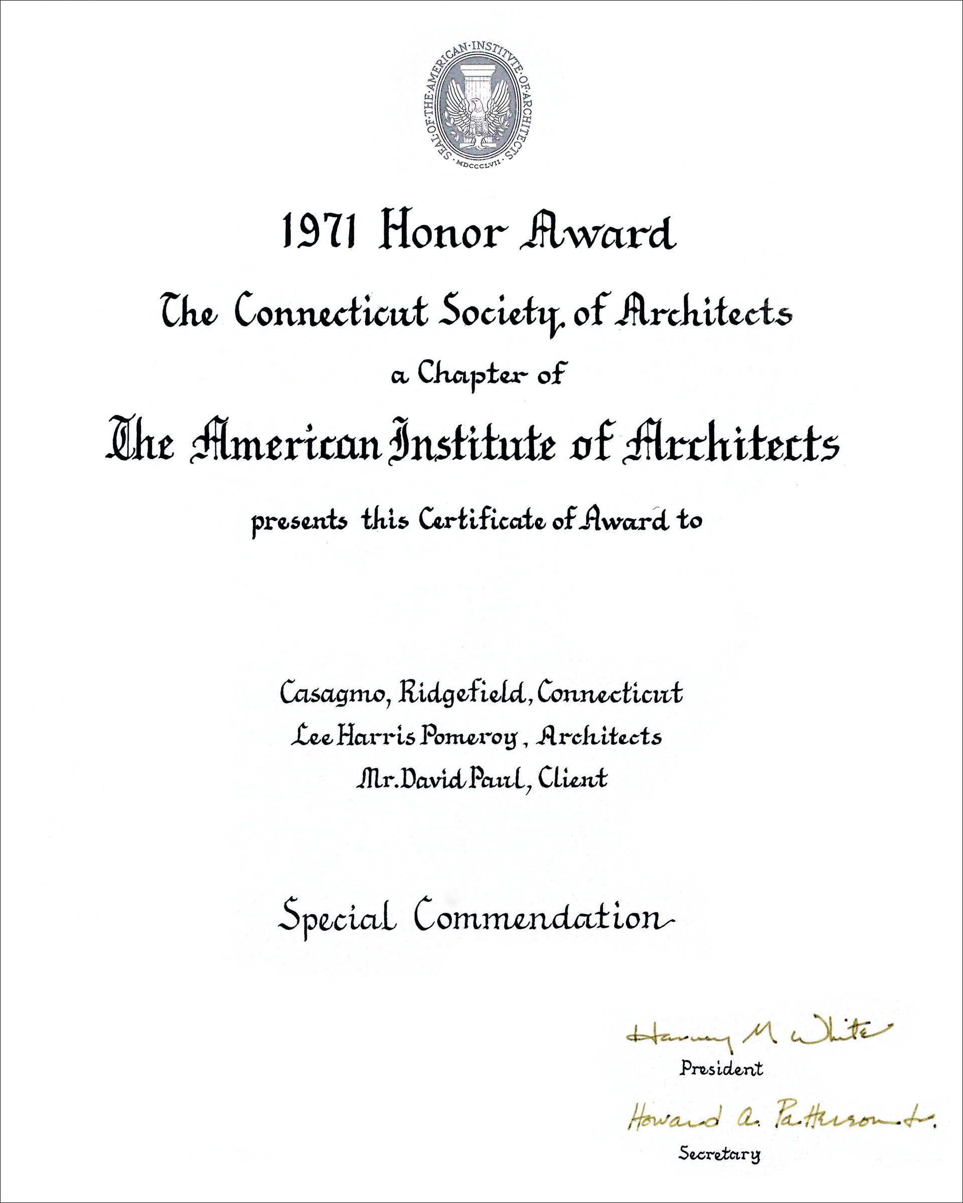 1971 CT Society of Architects Casagmo