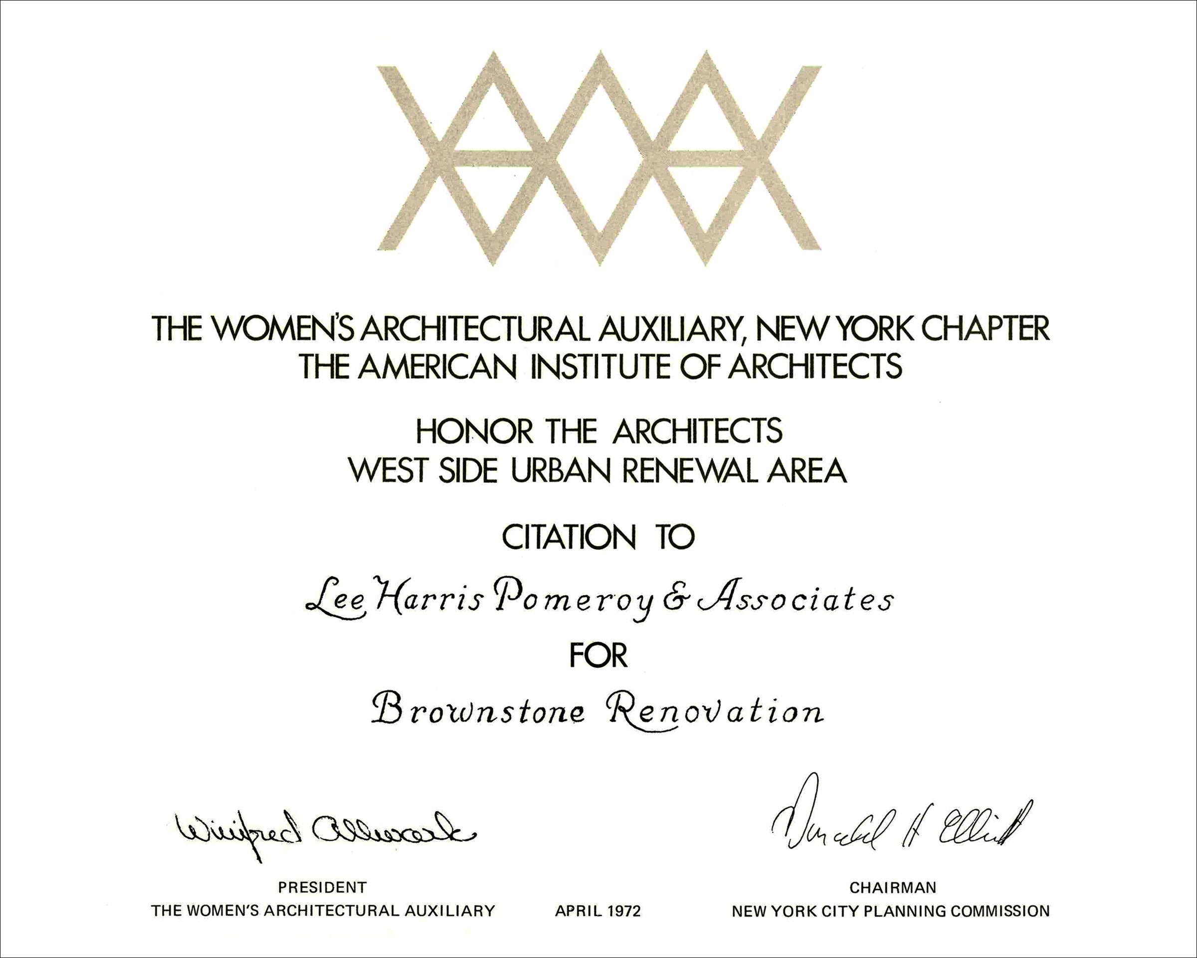 1972 Womens AIA NY Brownstone Renovation