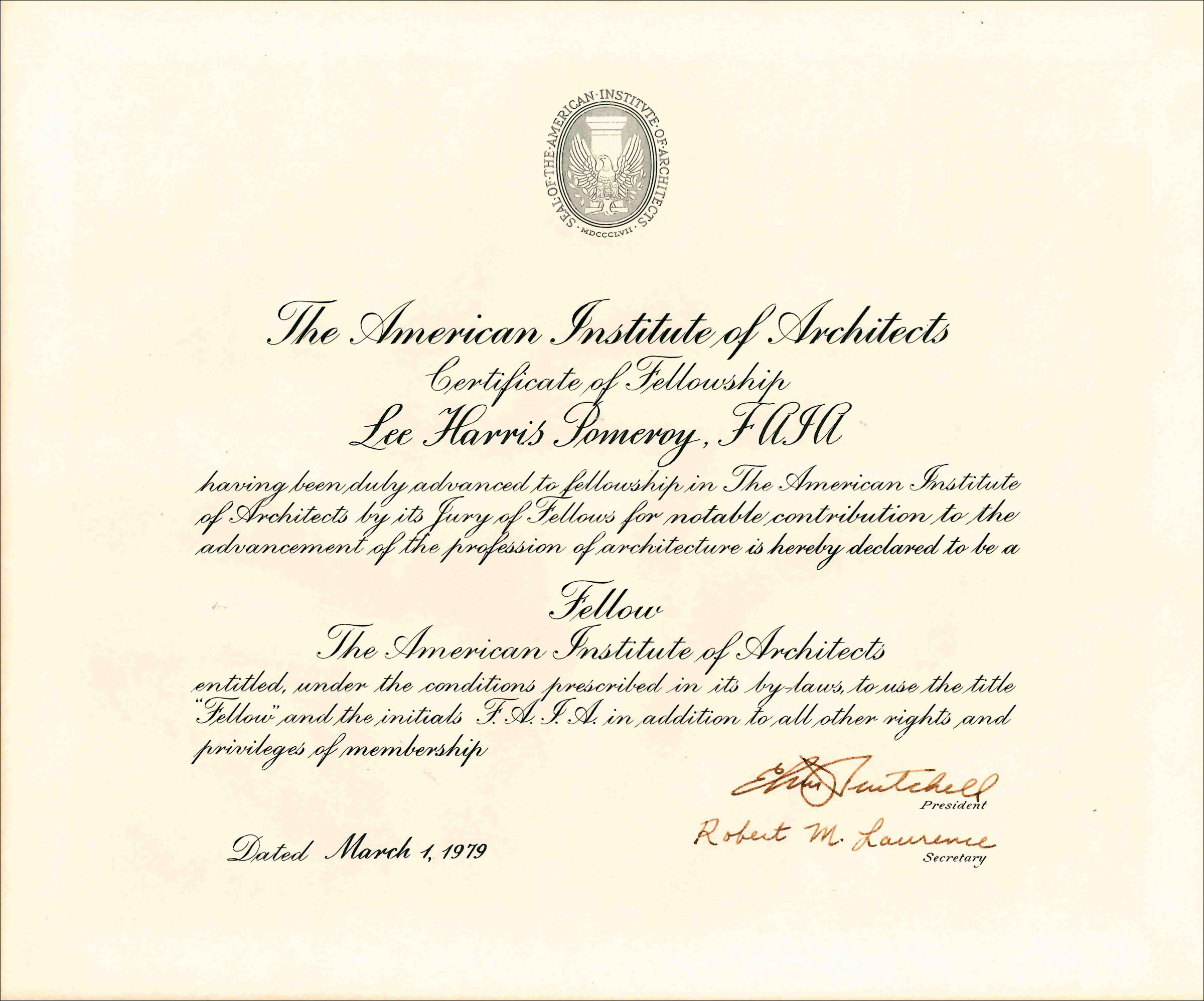 1979 AIA Certificate of Felloowship