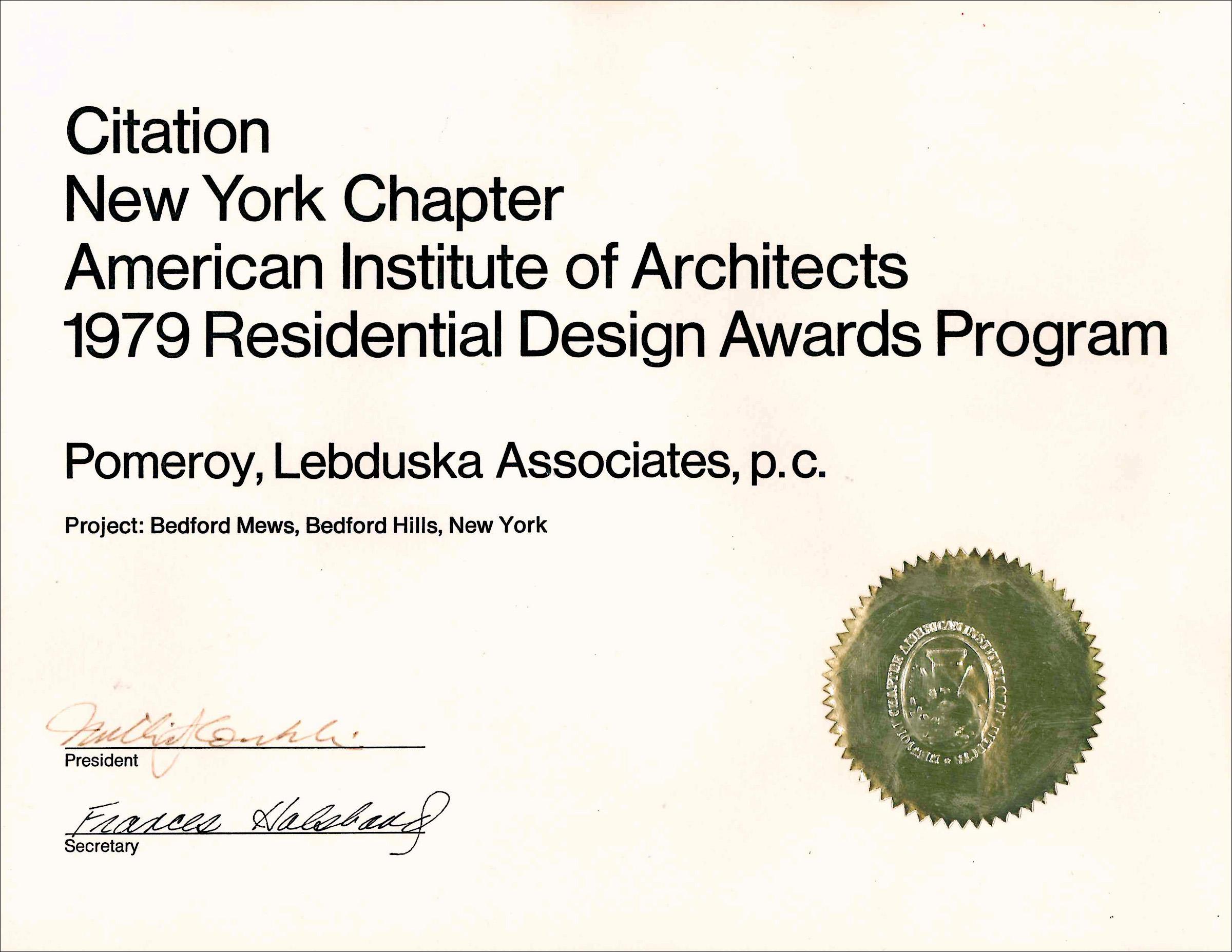 1979 AIA NY Citation Bedford Mews