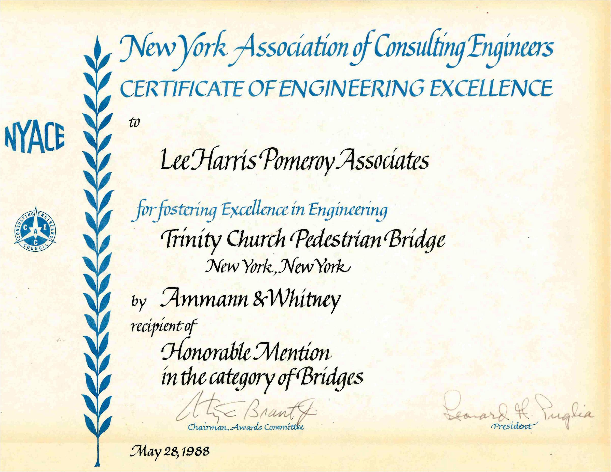 1988 NYACE Cert of Eng Excellence Trinity Church Pedestrian Bridge