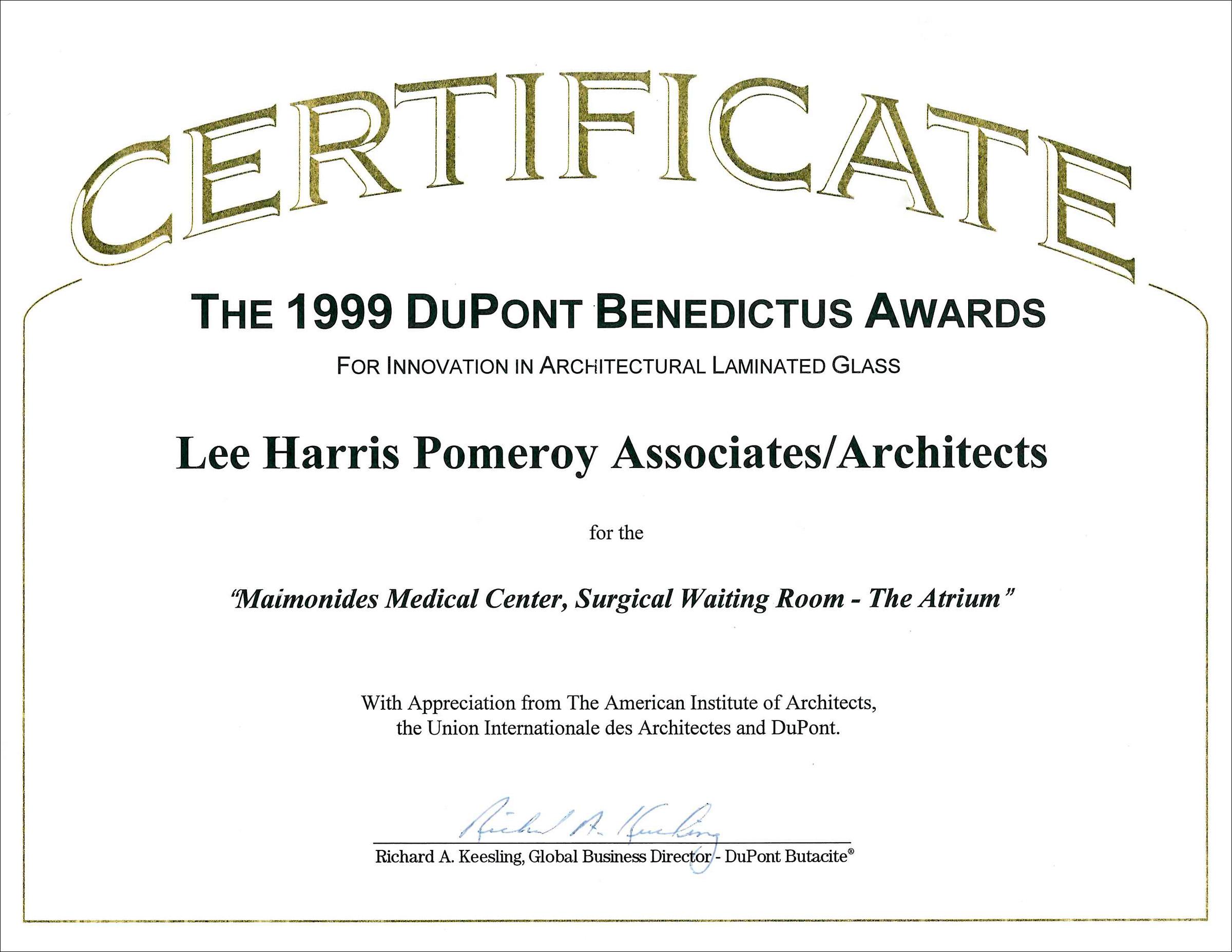 1999 DuPont Benedictus Awards Maimonides Med Ctr