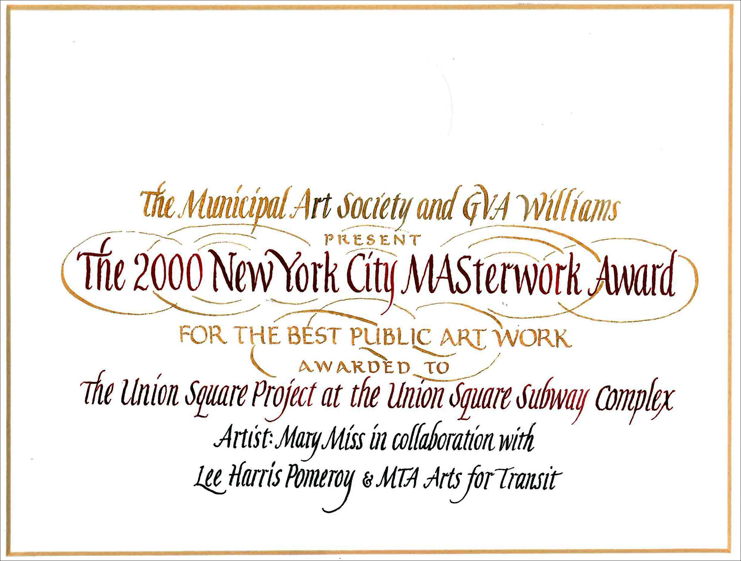 2000 NYC MASterwork Award Union Sq