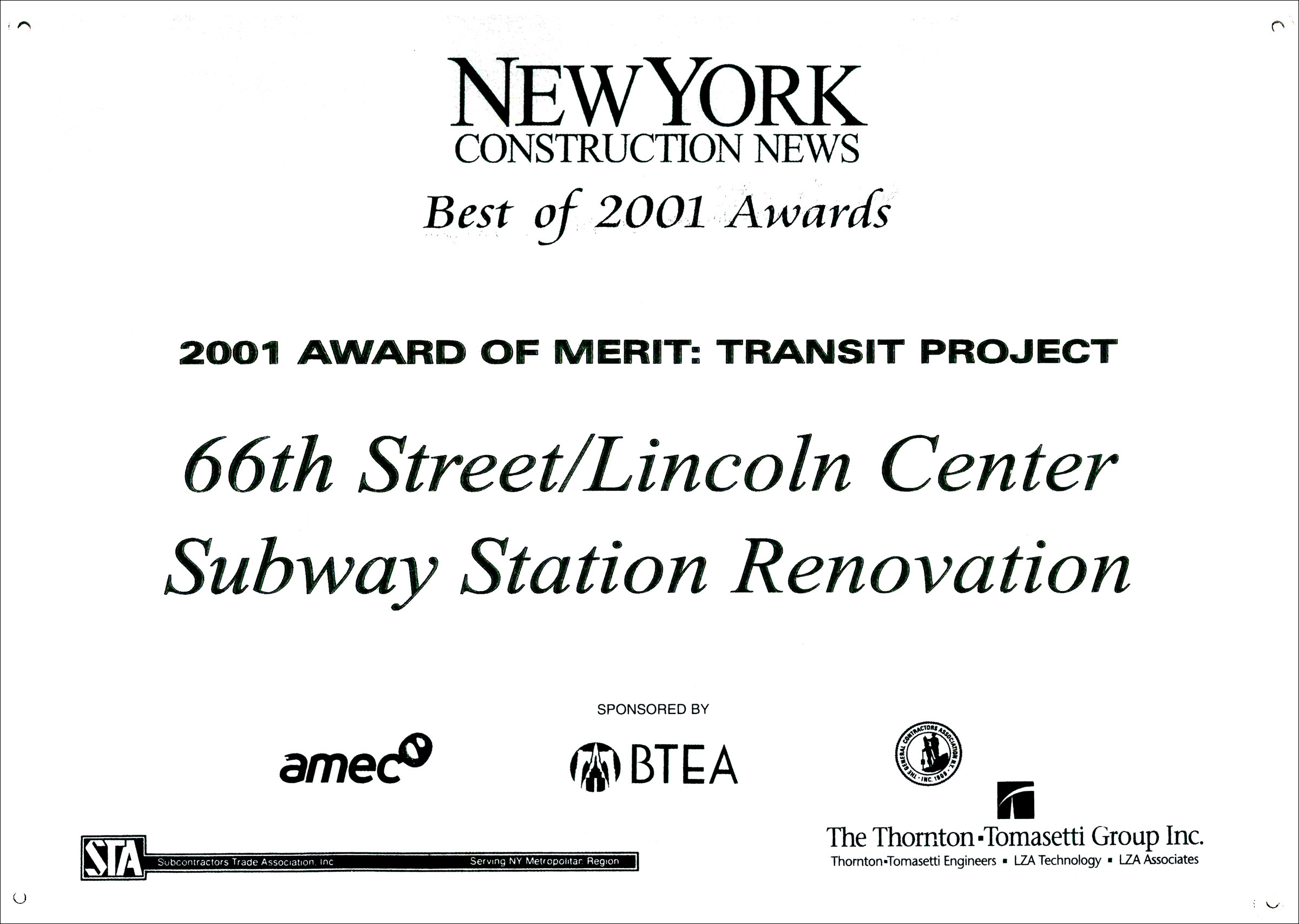 2001 NY Const News 66th St Lincoln Ctr