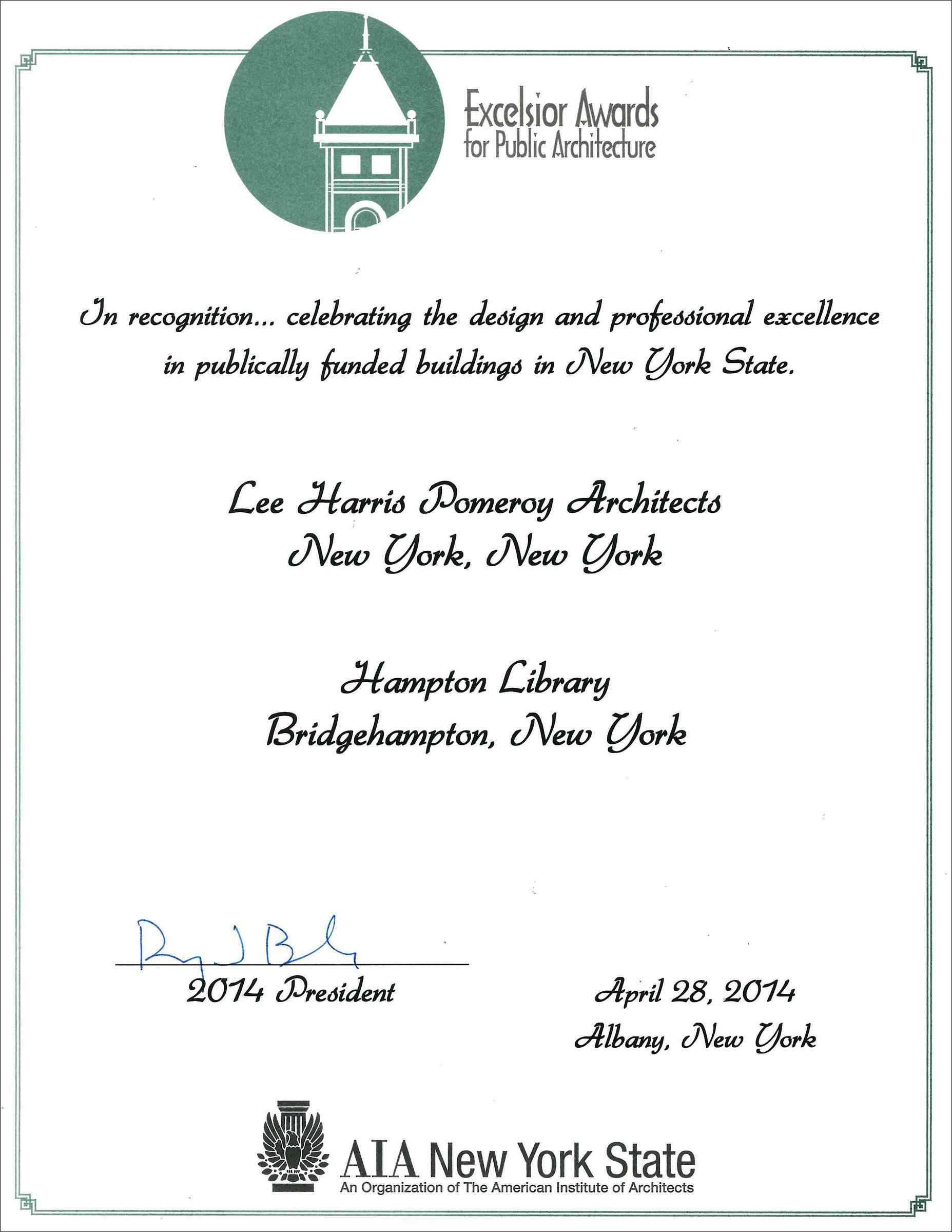 2014 NYS AIA Excelsior Award Hampton Library