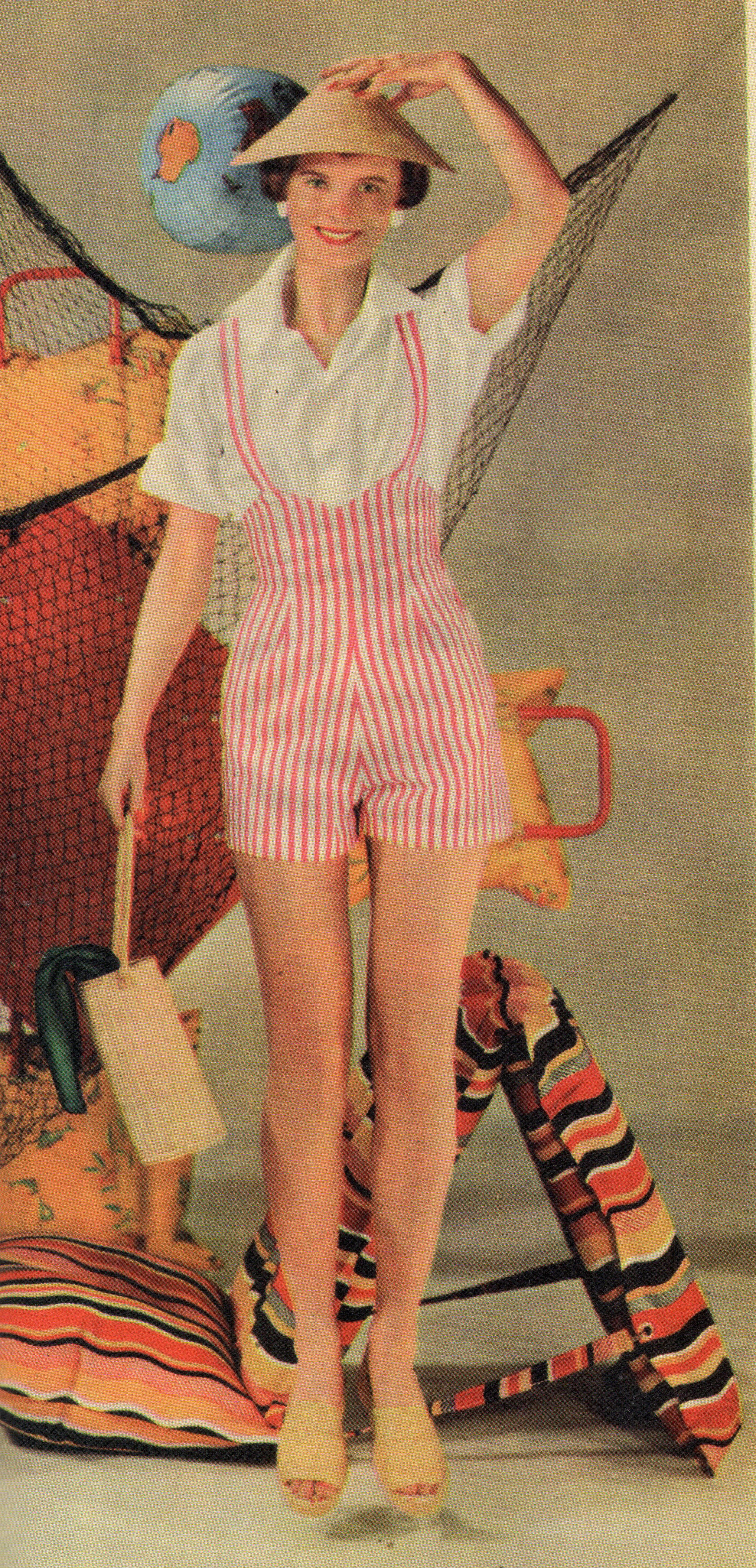 Home-made beachwear, 1956