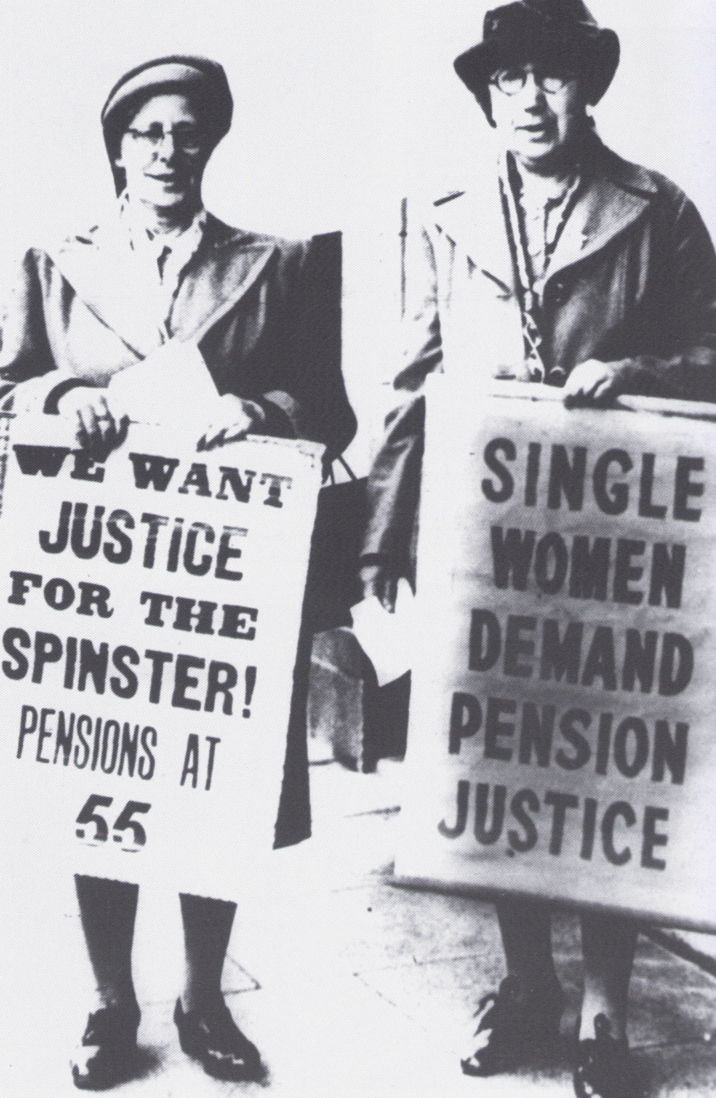 Campaigning for spinsters: on the right, Florence White