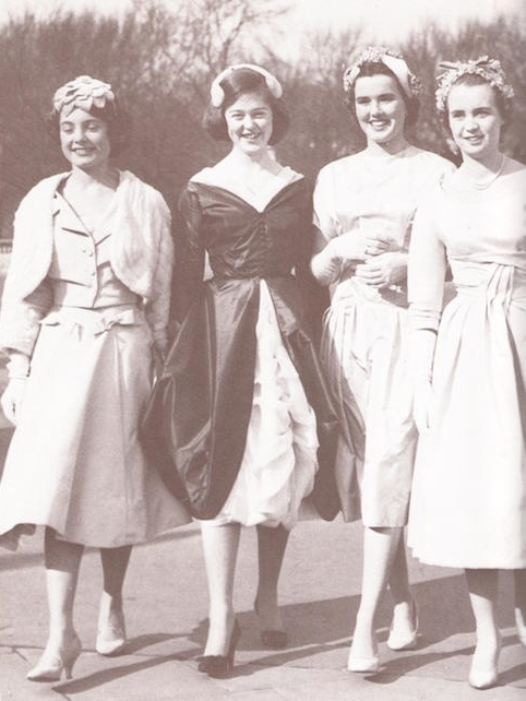 The last Palace presentation was held in 1958; four debutantes smilingly offer themselves up as upper-class wife material.