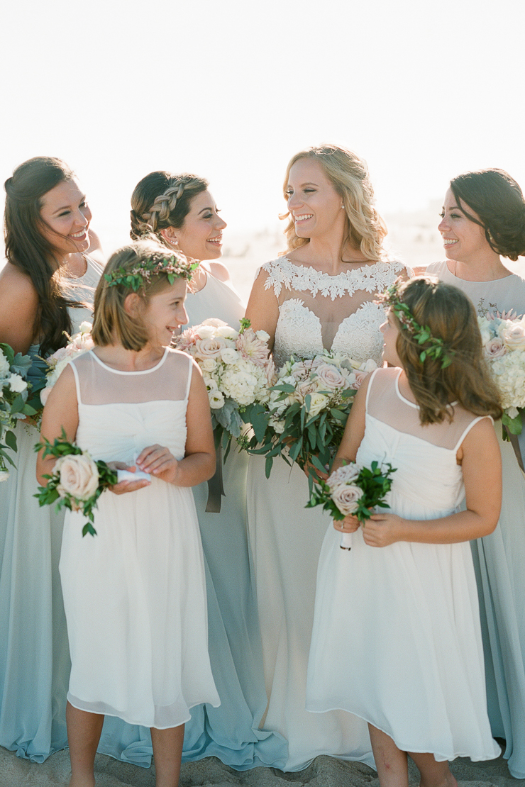 Bride and Bridesmaids Beach Wedding Photos