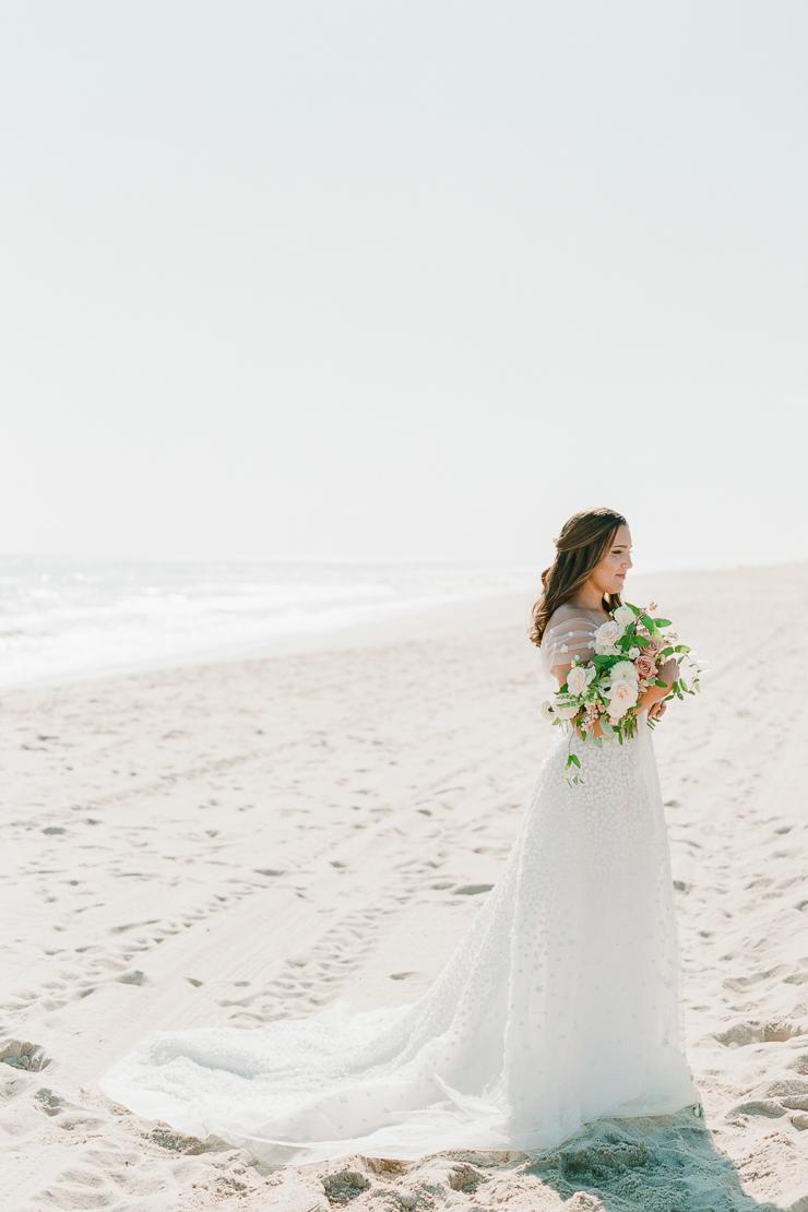 Bridal Portrait on Beach at Gurneys Montauk