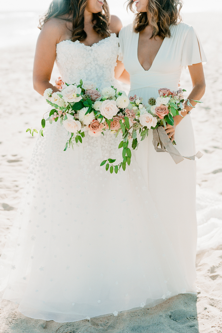 Bride and Maid of Honor on Beach Wedding Photos
