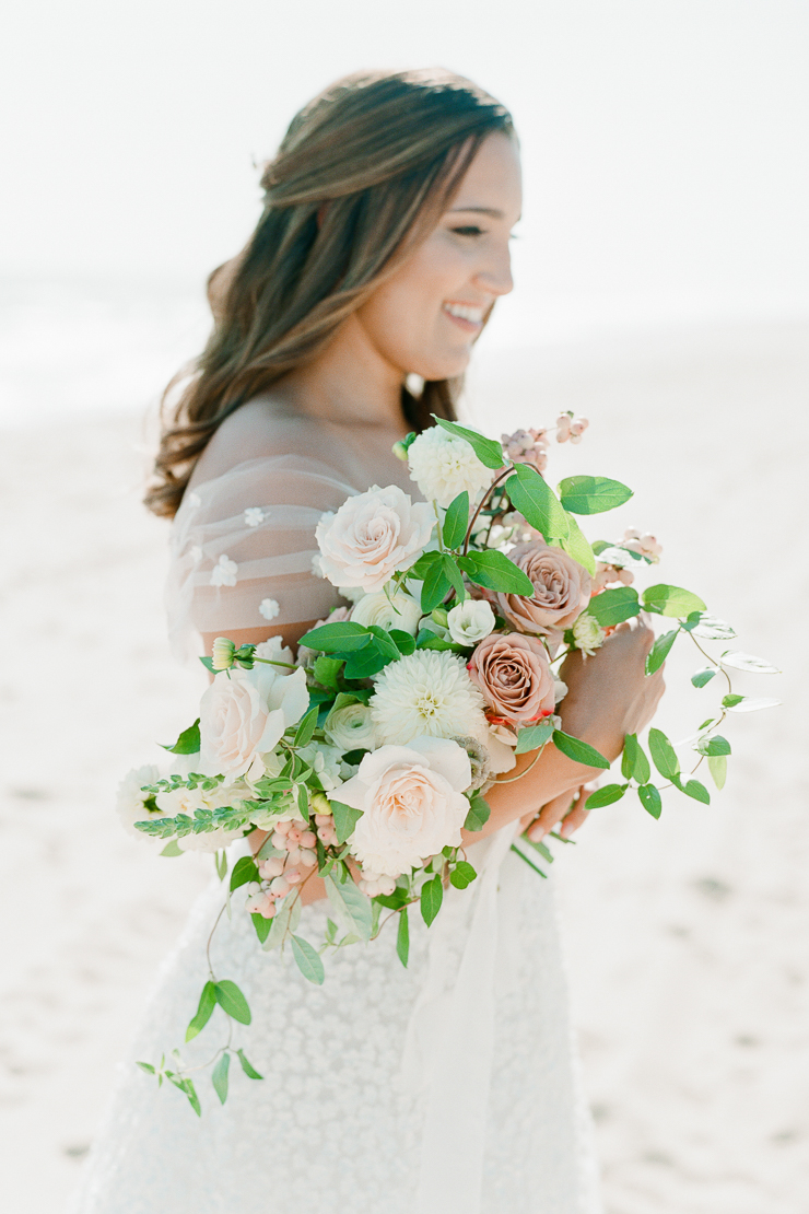 Coral Bridal Bouquet by AvaFloral Gurney's Montauk Wedding Photos