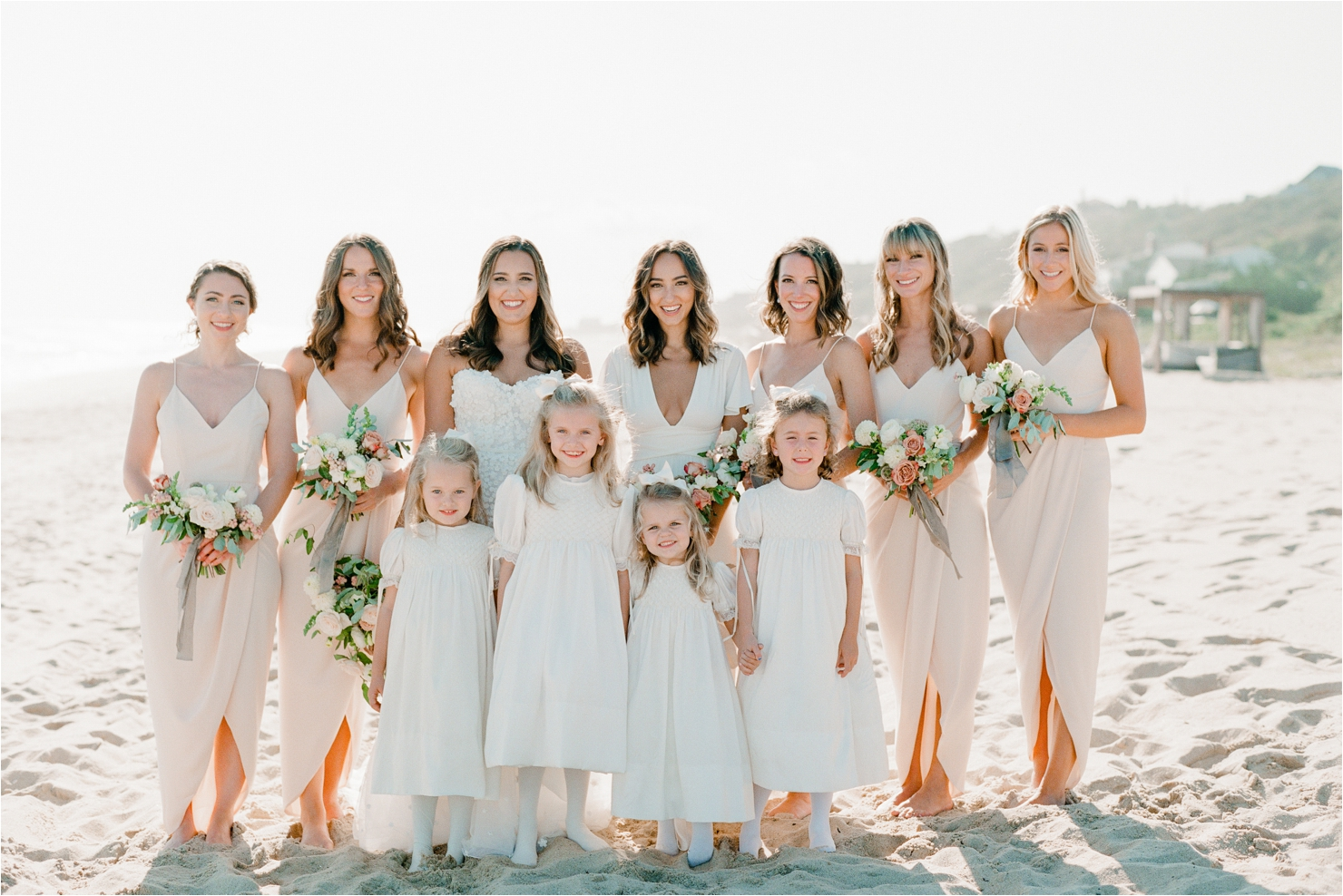 Bride, Bridesmaids and Flower Girls Photos on Beach Montauk