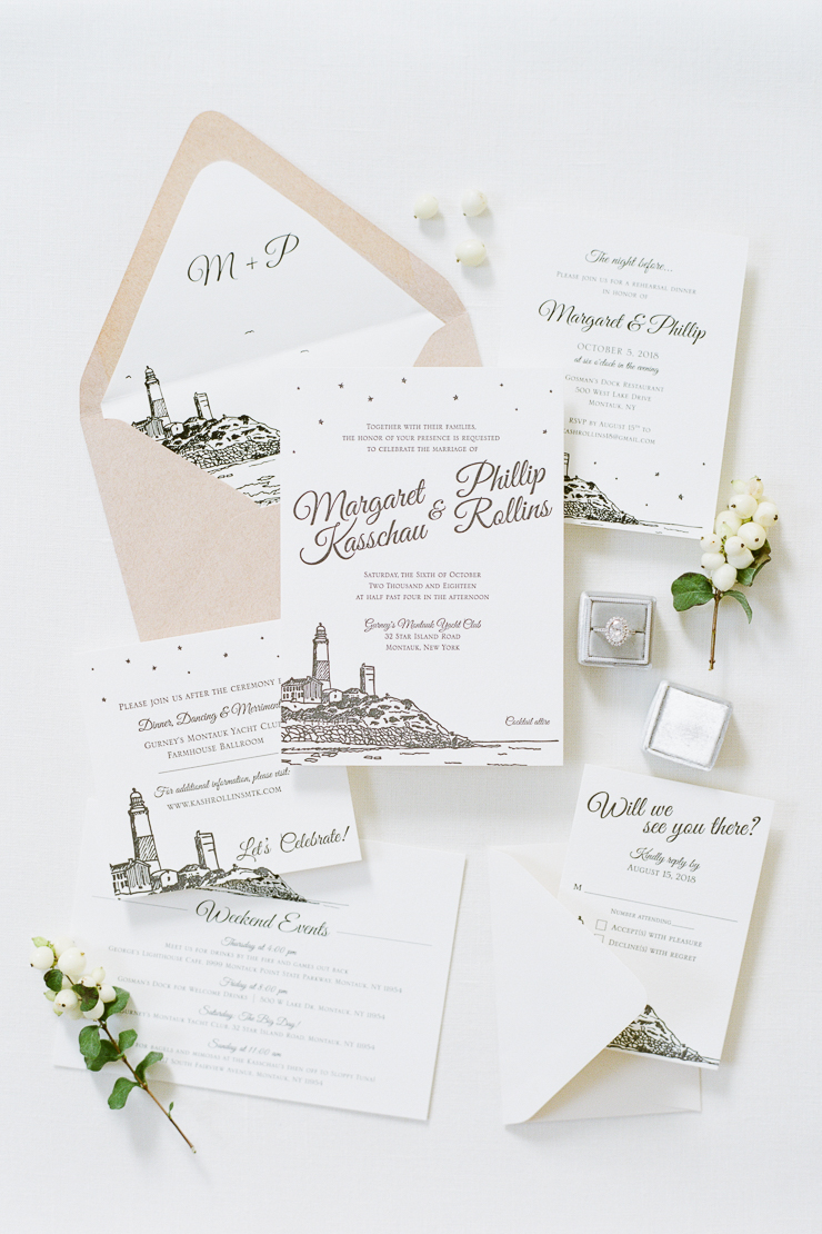 White Wedding Invitations by Pixie Chicago
