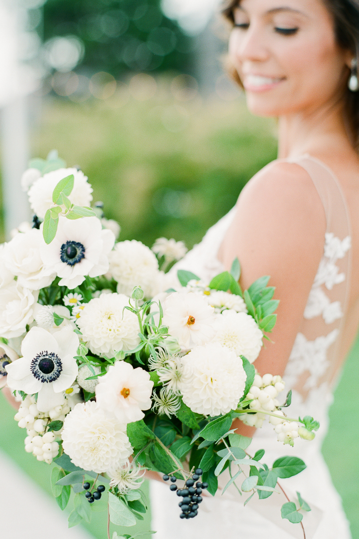 White Wedding Bouquet by AvaFloral Gurneys Star Island Wedding Photos