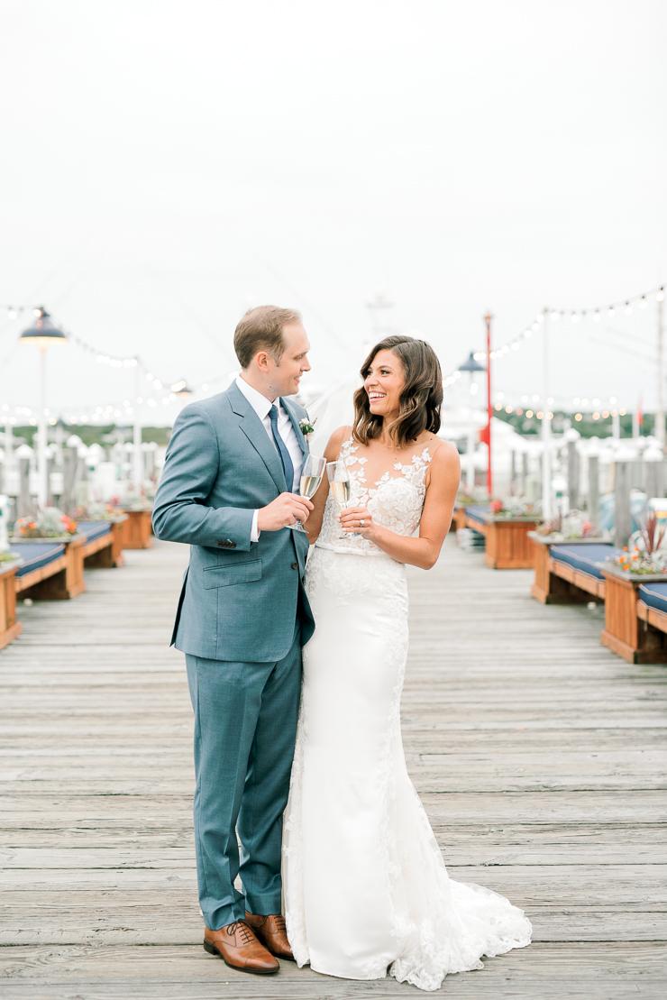 Bride and Groom Photos on Docks at Gurneys Montauk Star Island Resort
